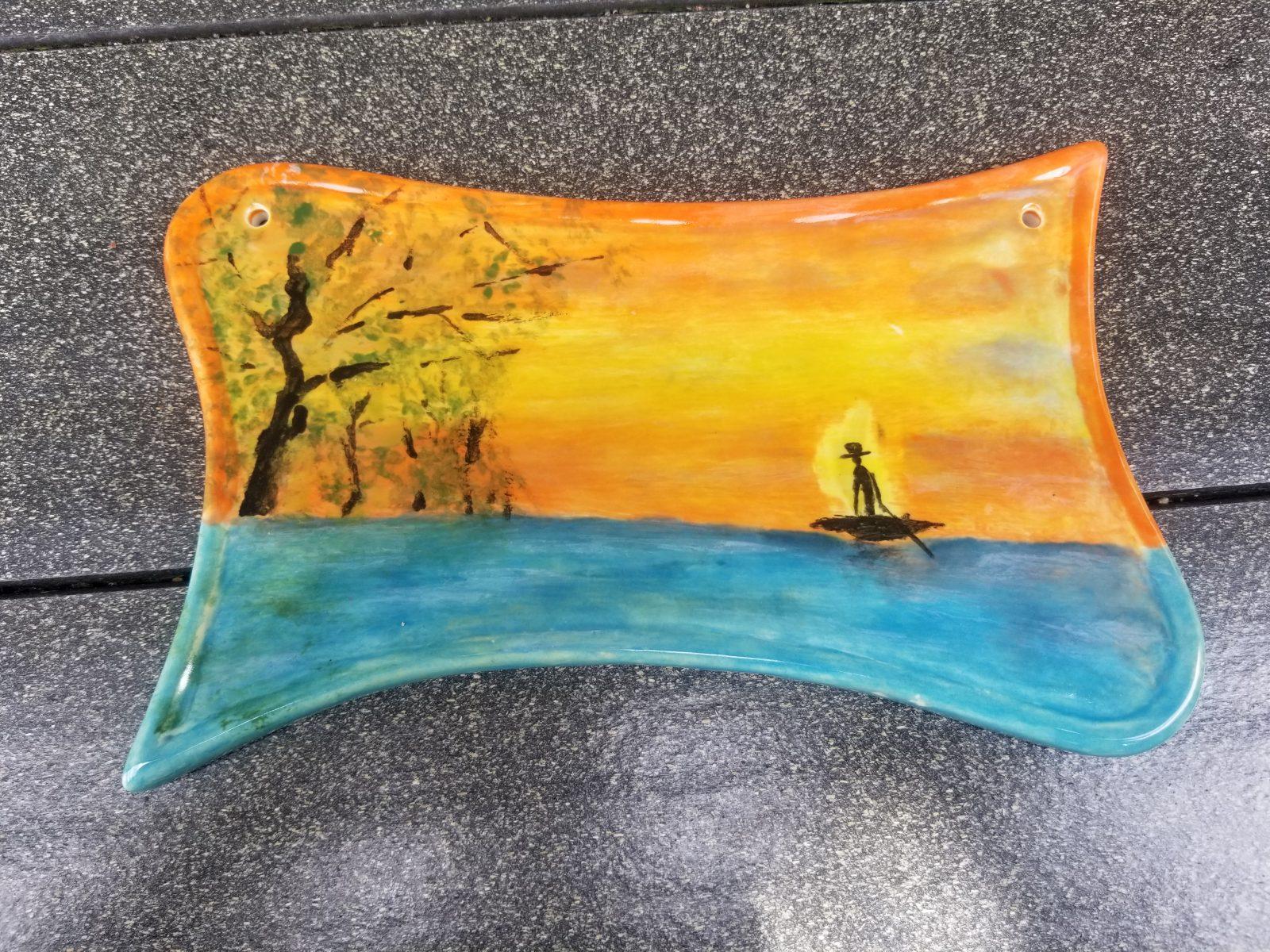 Keramik Türschild Landschaft