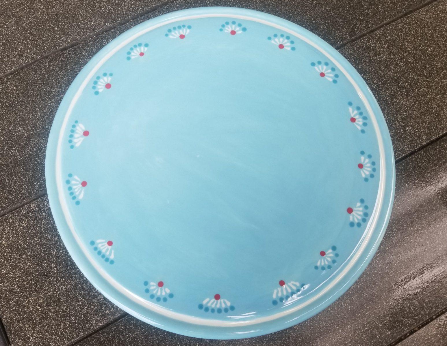 Keramik Tortenplatte helblau