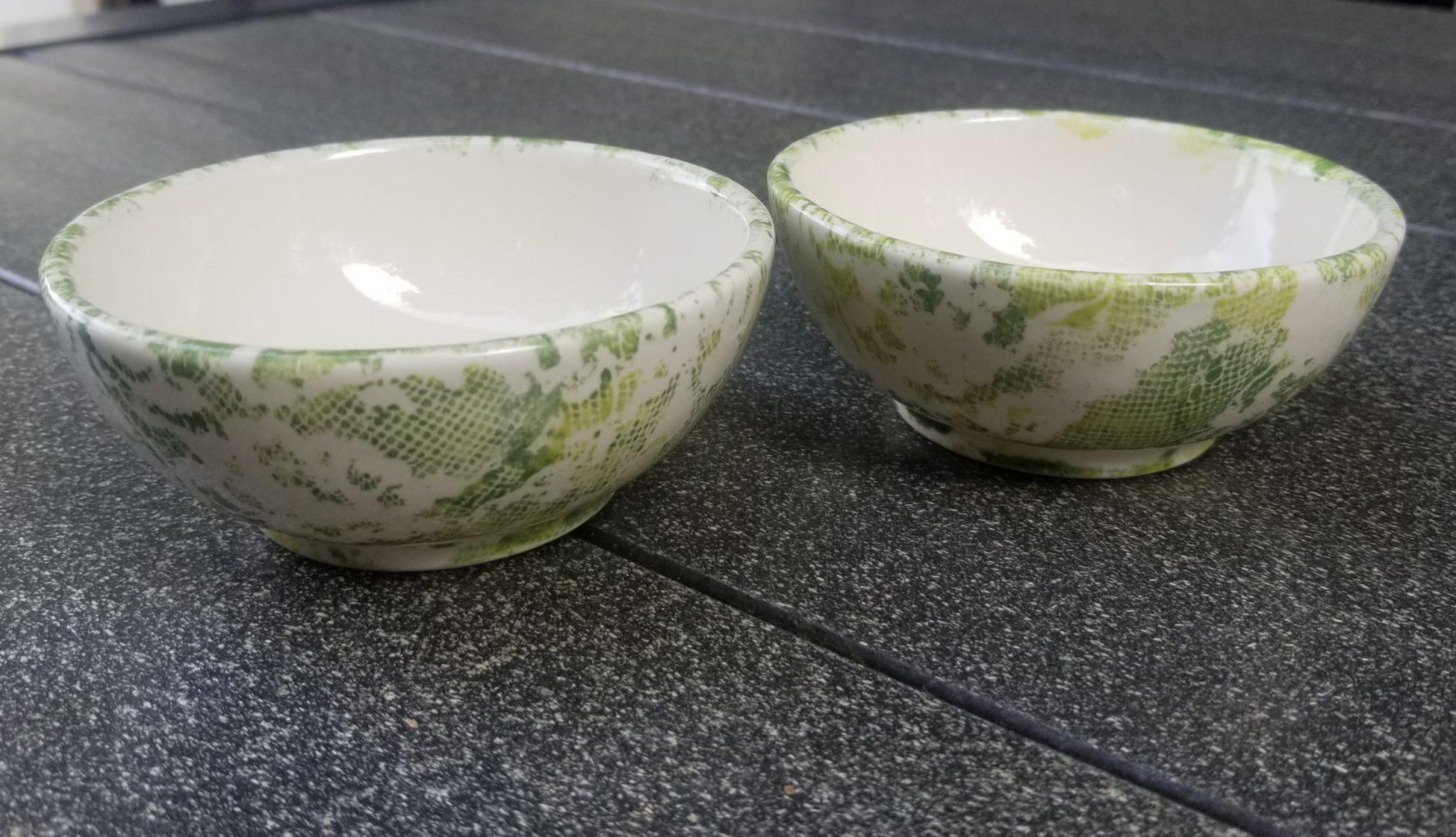 Keramik Schälchen Stoff-Technik grün