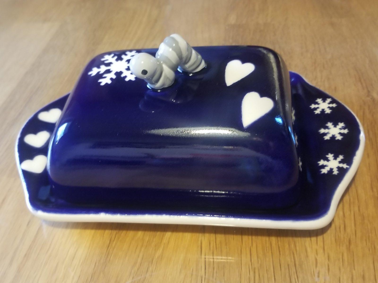 Keramik Butterdose dunkelblau mit Raupe