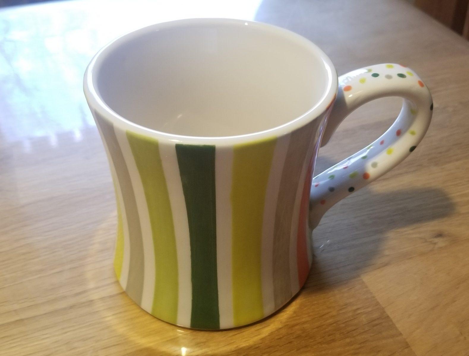 Keramik Diner Mug green Stripes