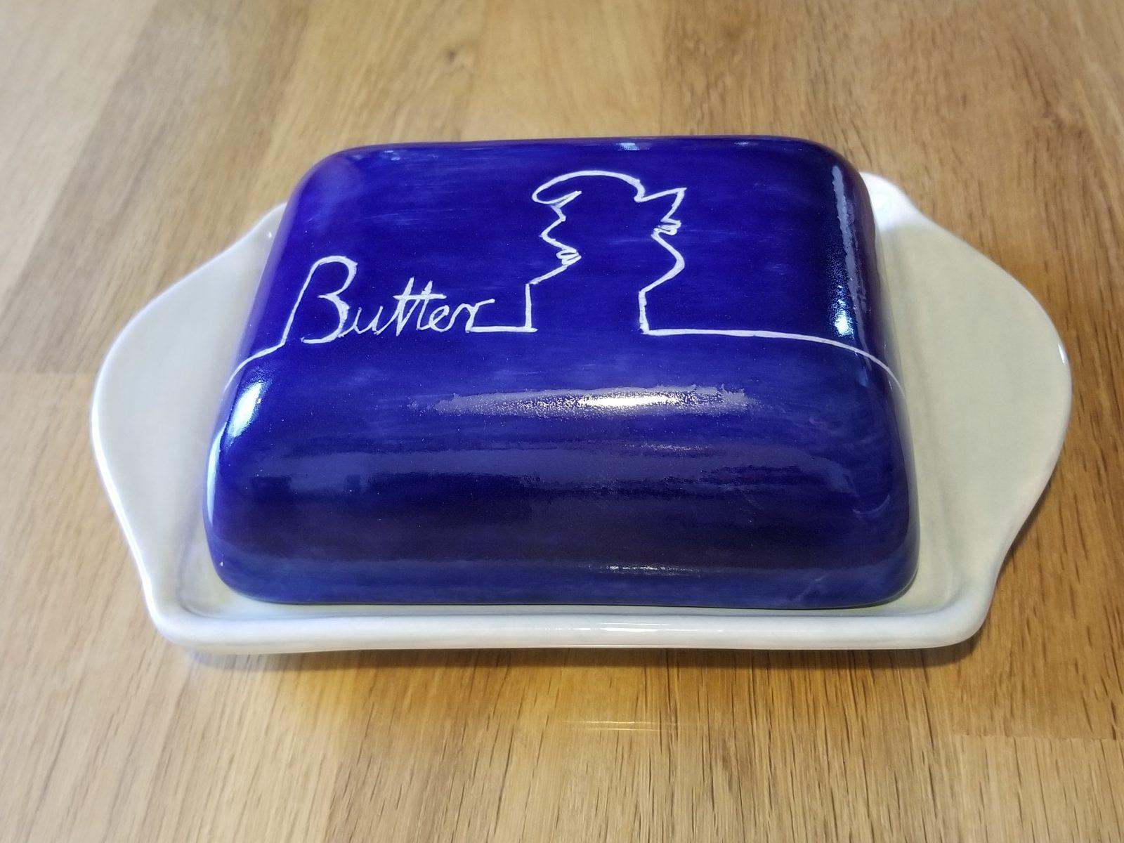 Keramik Butterdose BLAU-SET