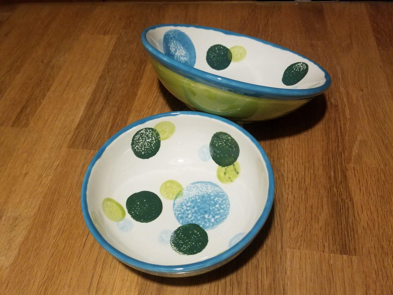 Keramik Schalen-Set green Dots