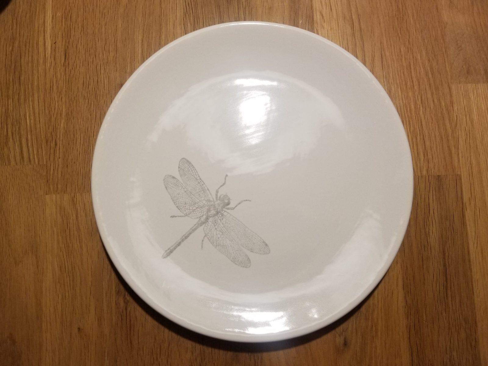 Keramik Teller glatt Libelle