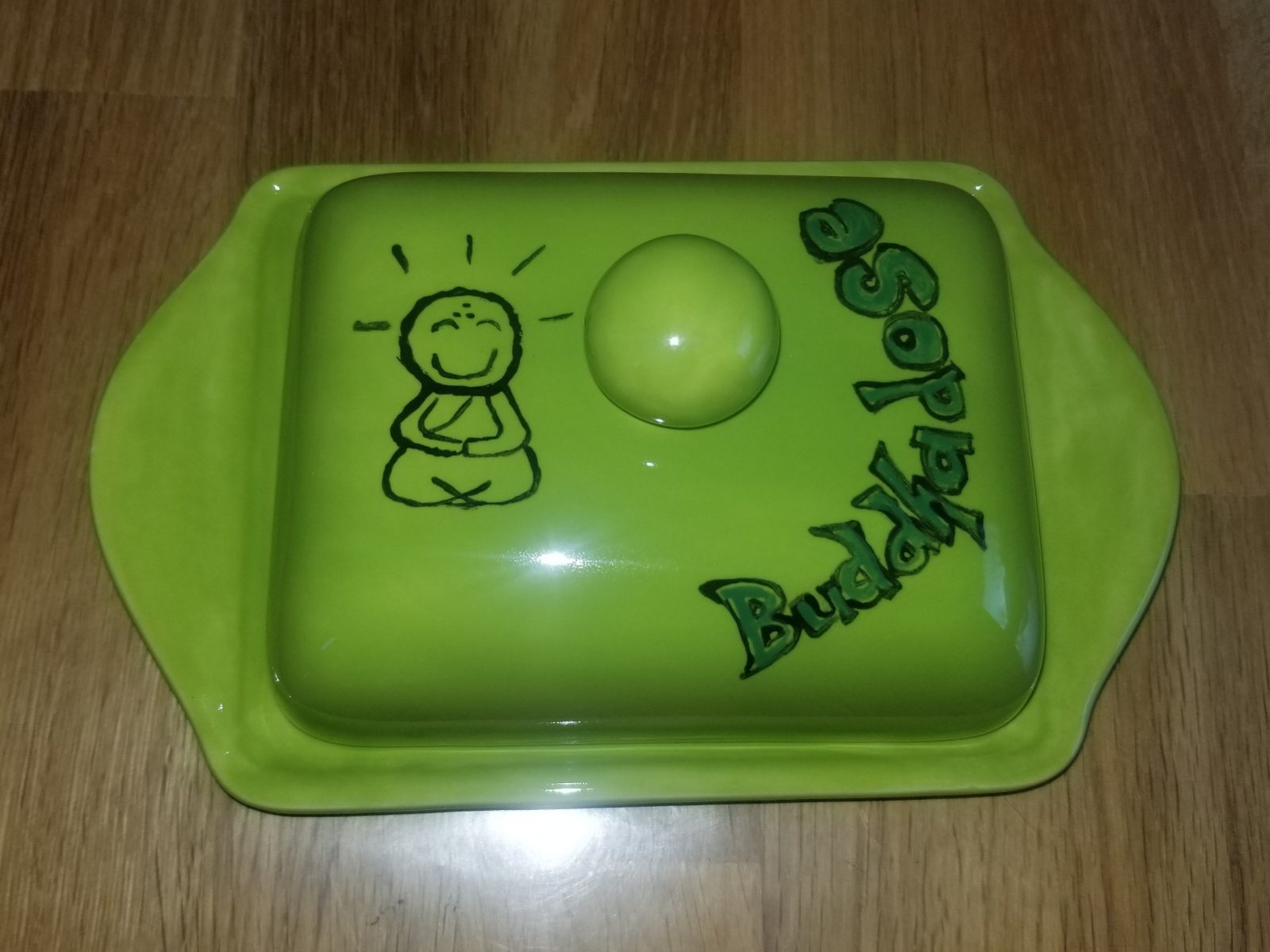 Keramik green Buddah-Dose