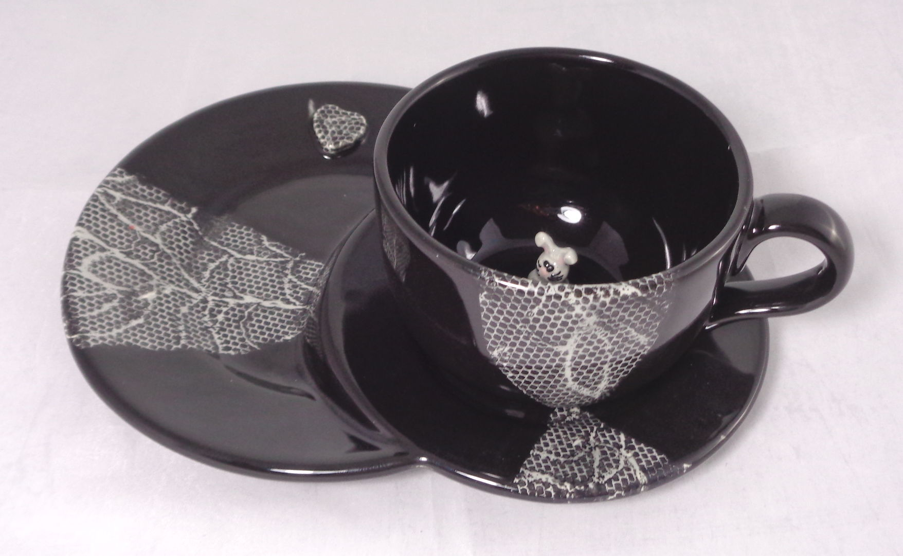 Bemalte Keramik Brioche-Set black