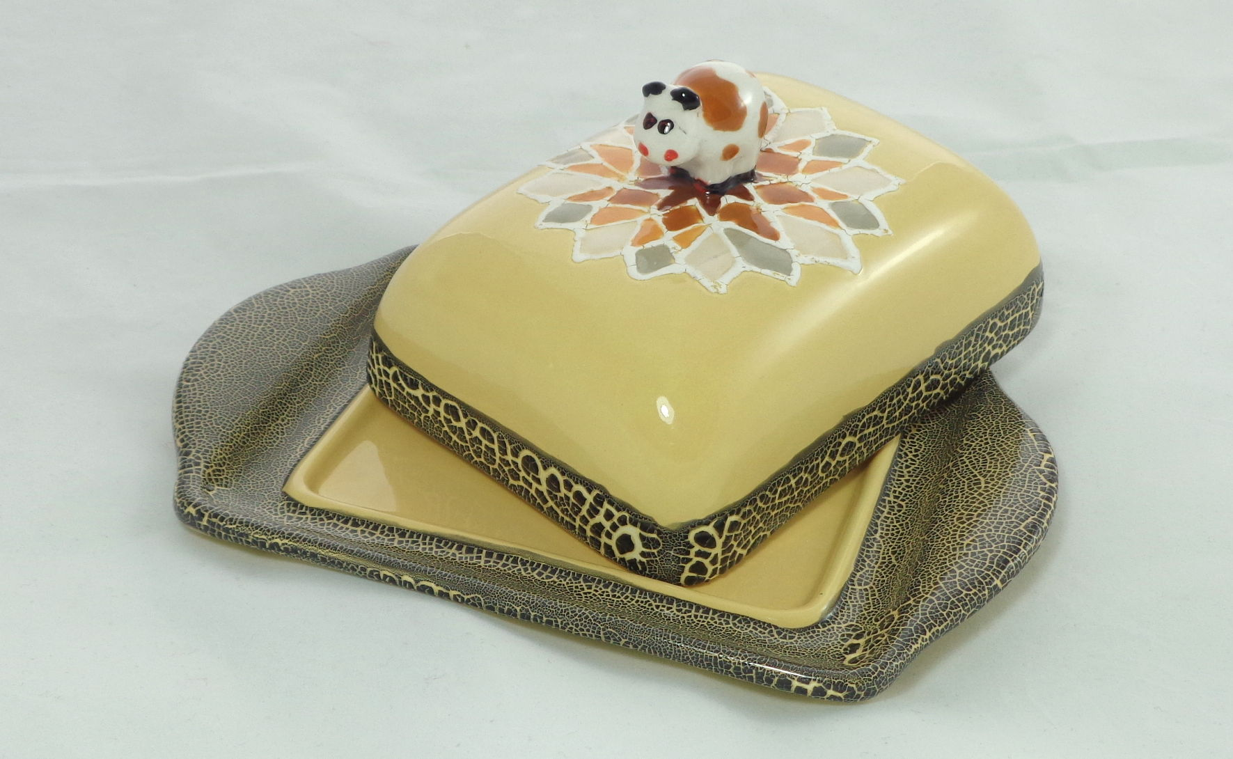 Bemalte Keramik Butterdose Mosaik