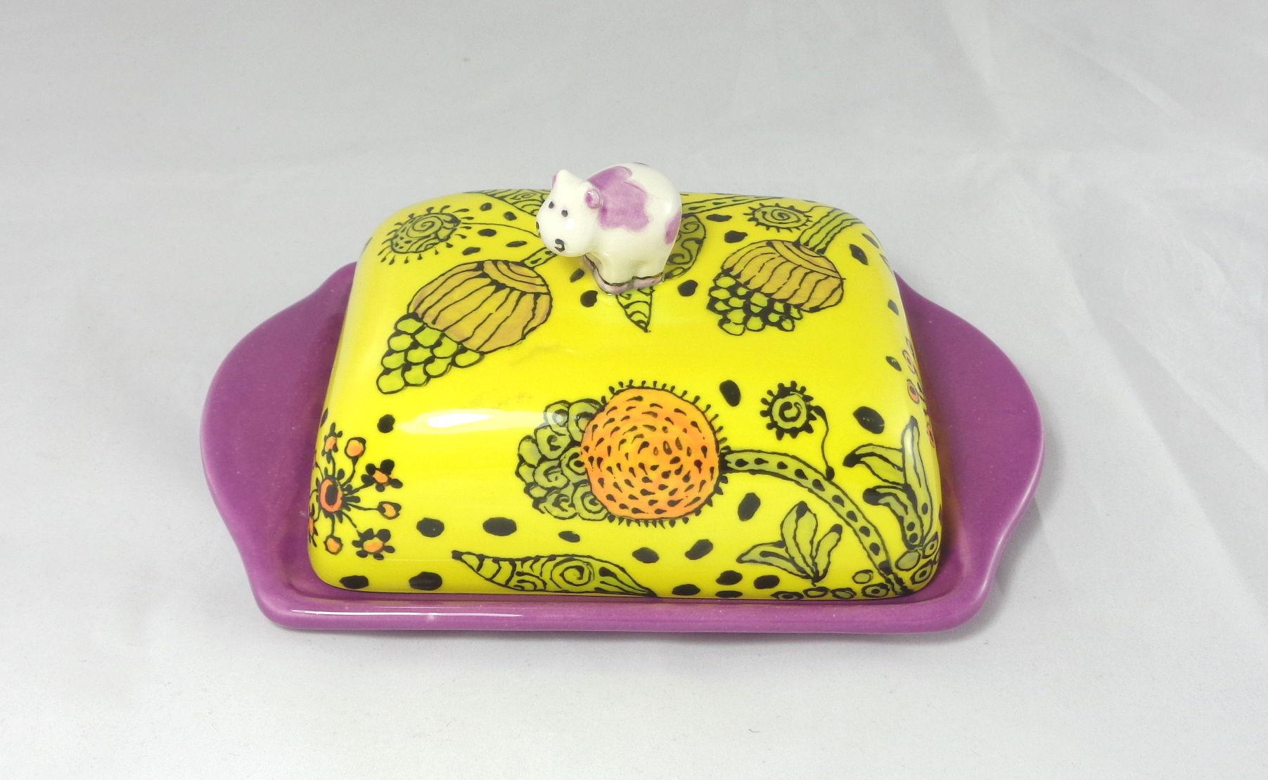 Bemalte Keramik Butterdose Floral