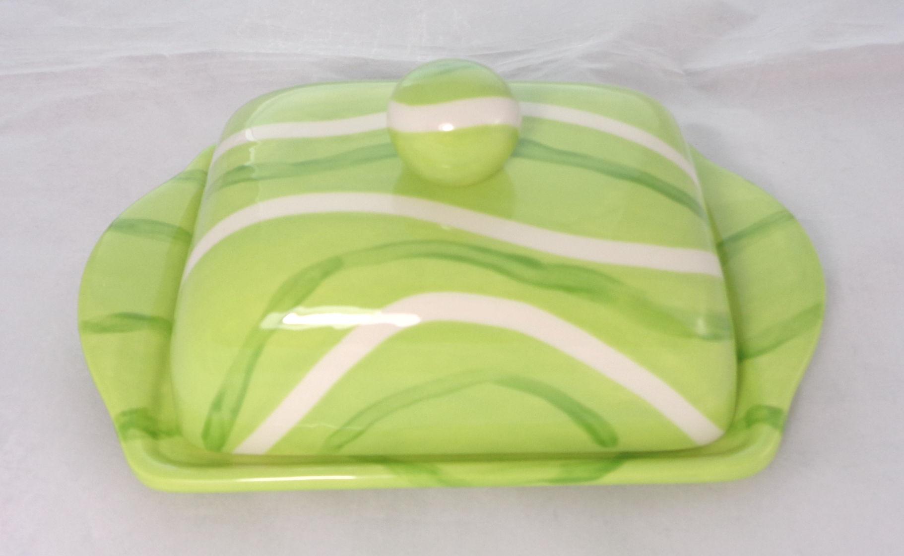 Bemalte Keramik Butterdose green-lines