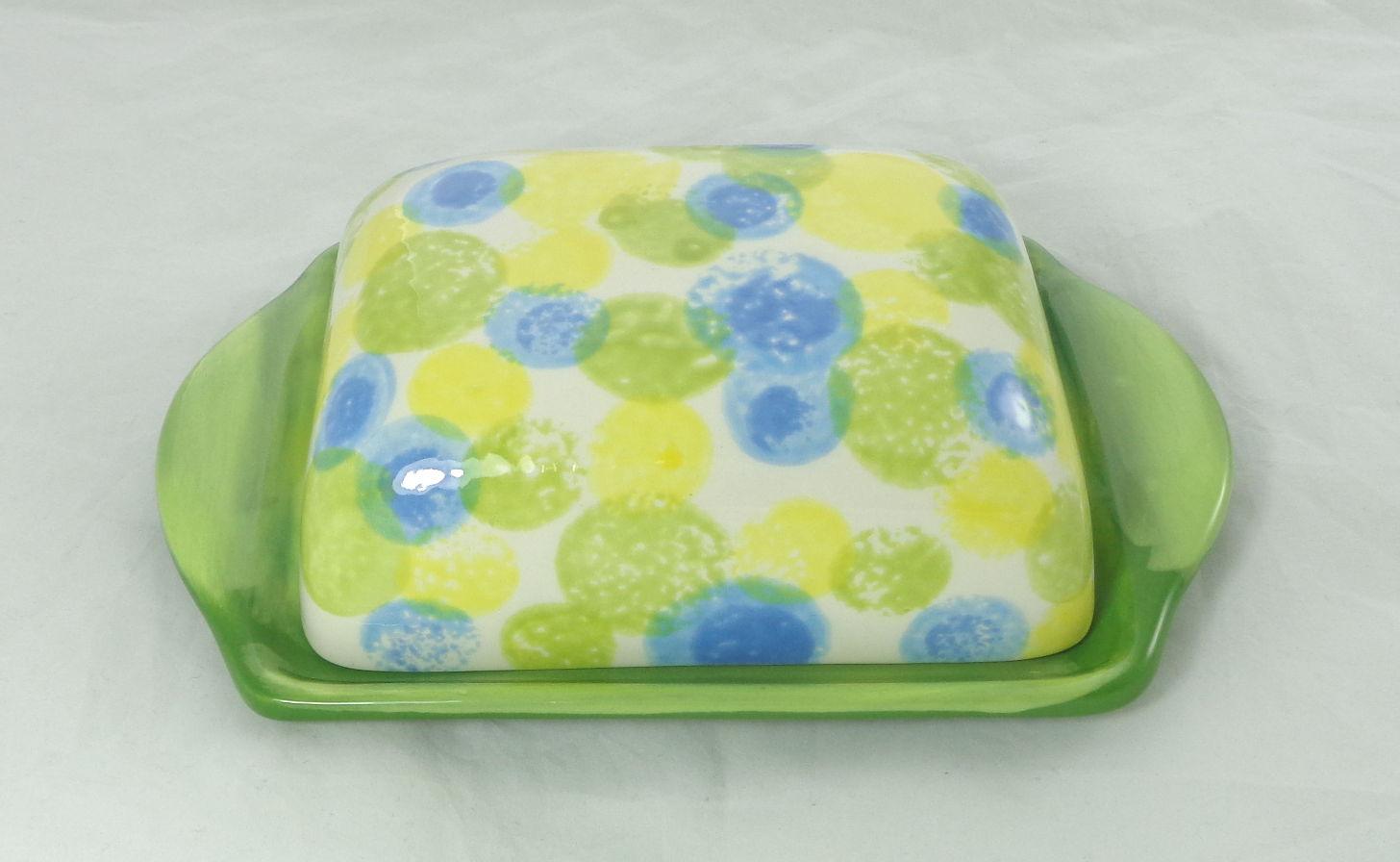 Bemalte Keramik Butterdose mit Tupfen