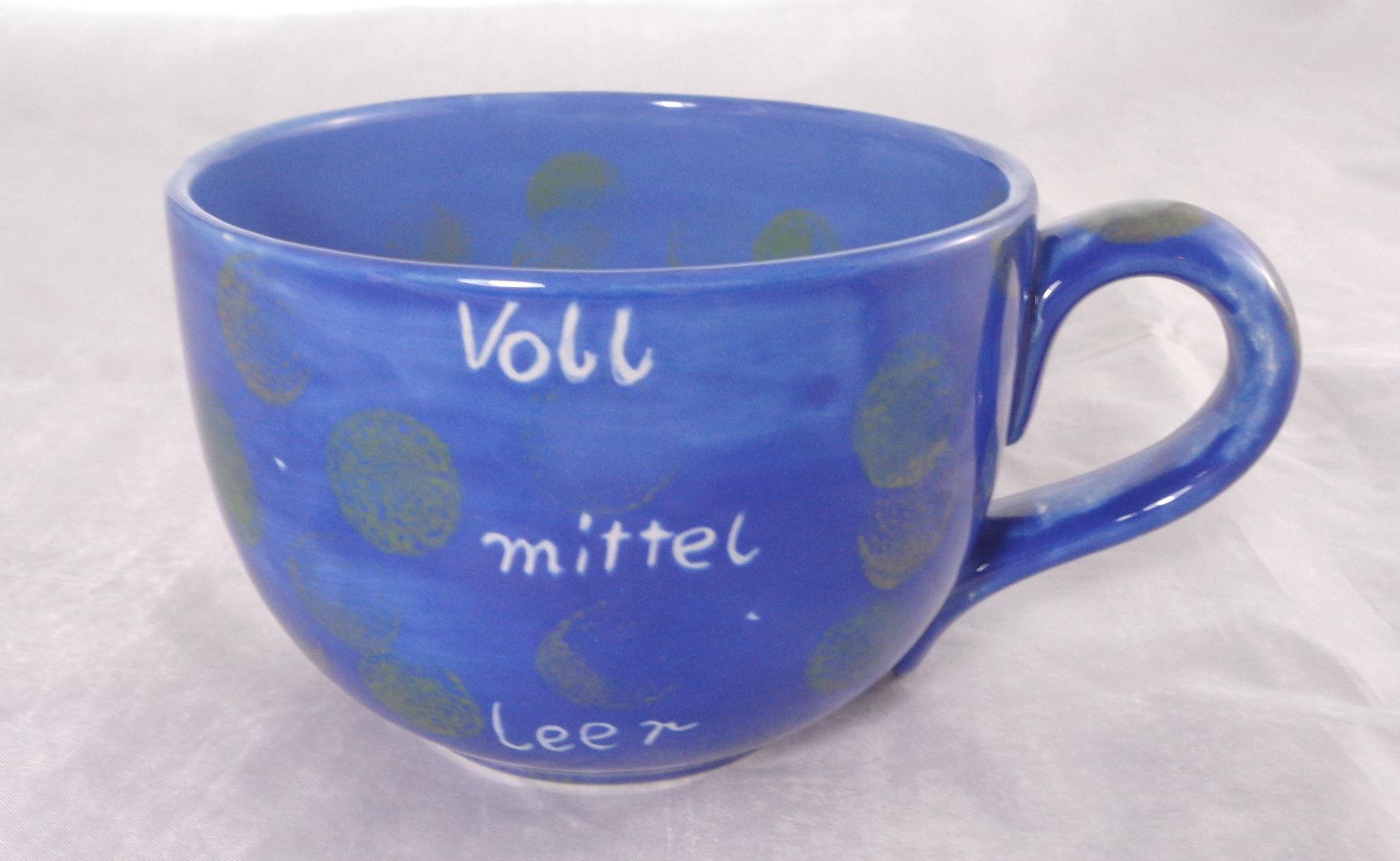 Bemalte Keramik Eco-Jumbobecher voll-leer