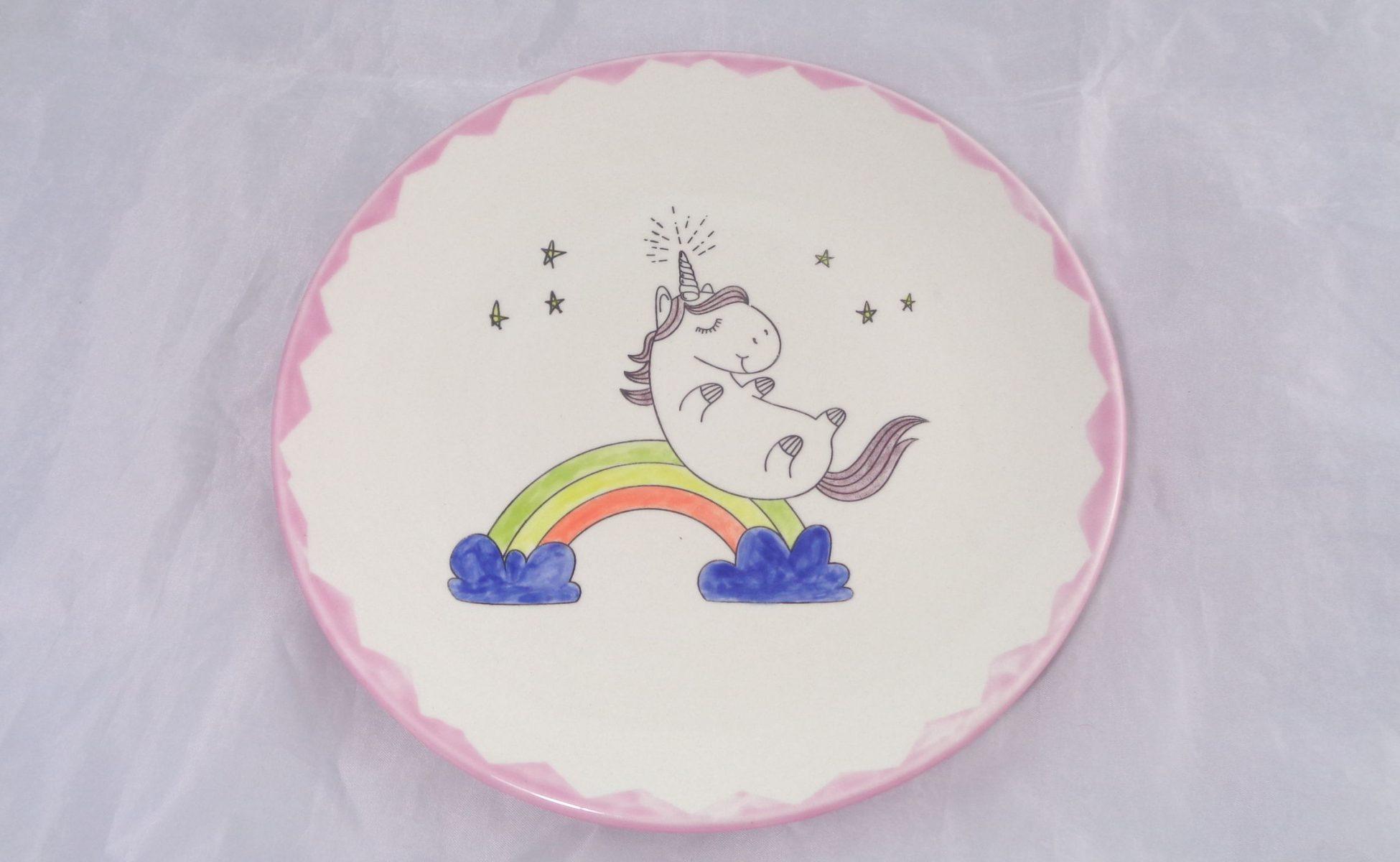 Bemalte Keramik Einhorn Teller No2