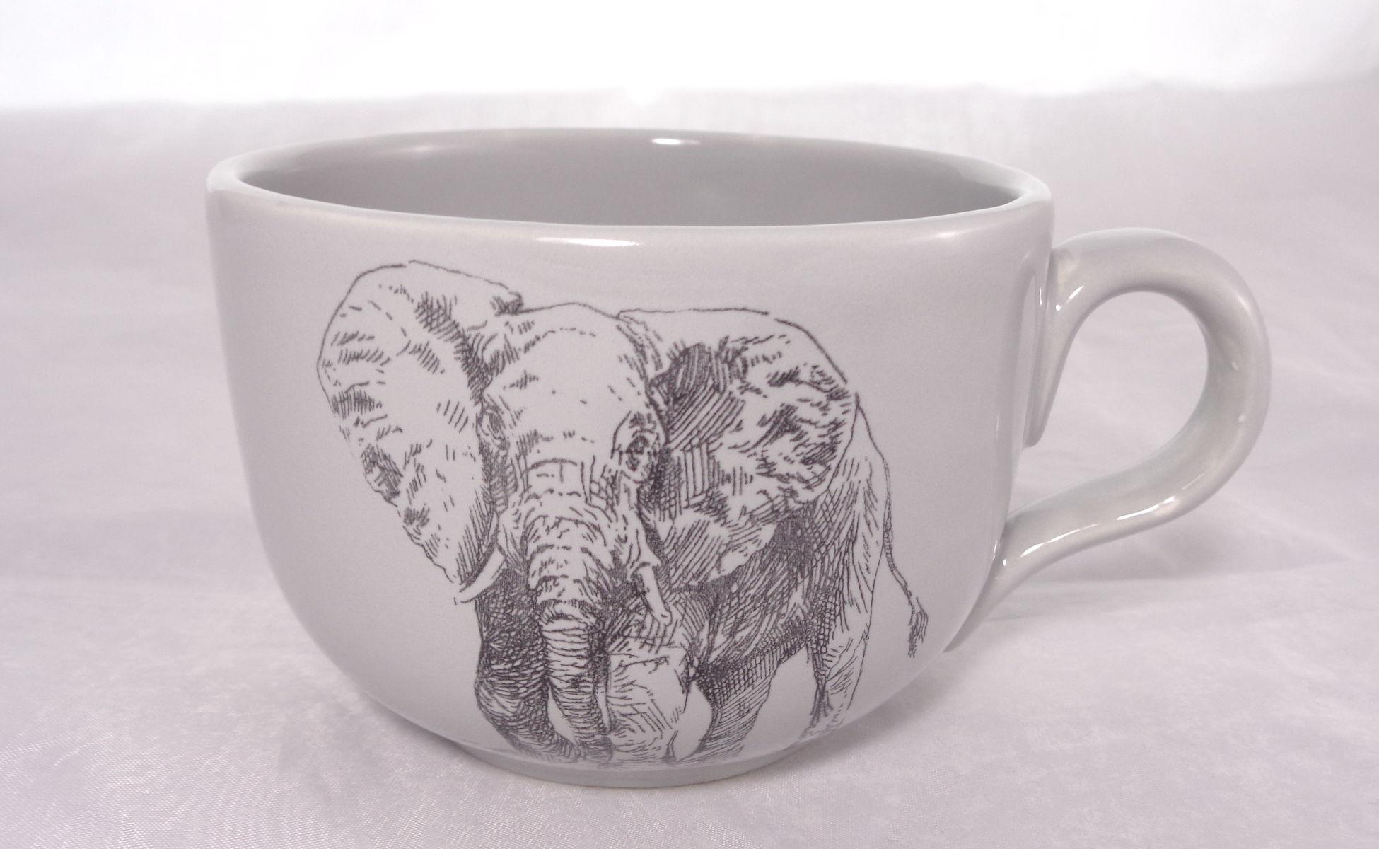 Bemalte Keramik Elefanten-Kaffeetasse