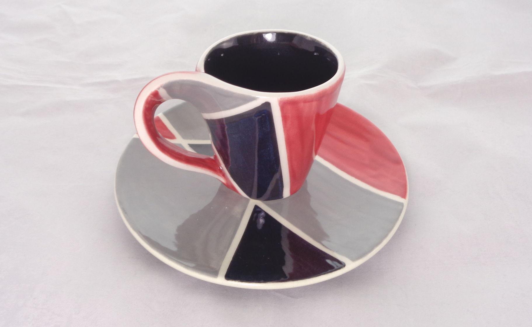 Bemalte Keramik Espresso-Loopy-Set rot-sw
