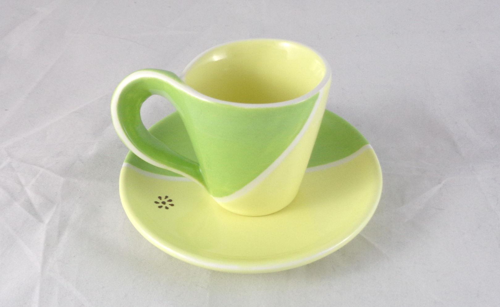 Bemalte Keramik Espresso-Set gelb-grün