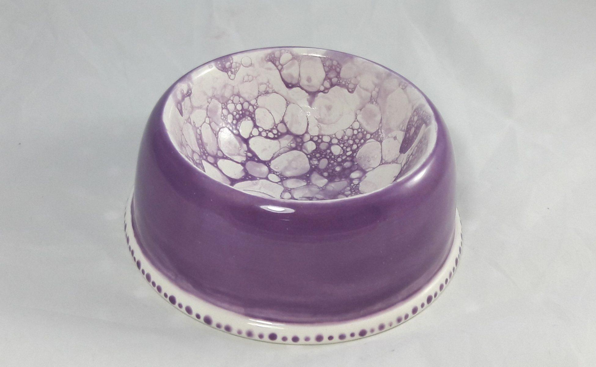 Bemalte Keramik Freßnapf klein mit Blubberblasen