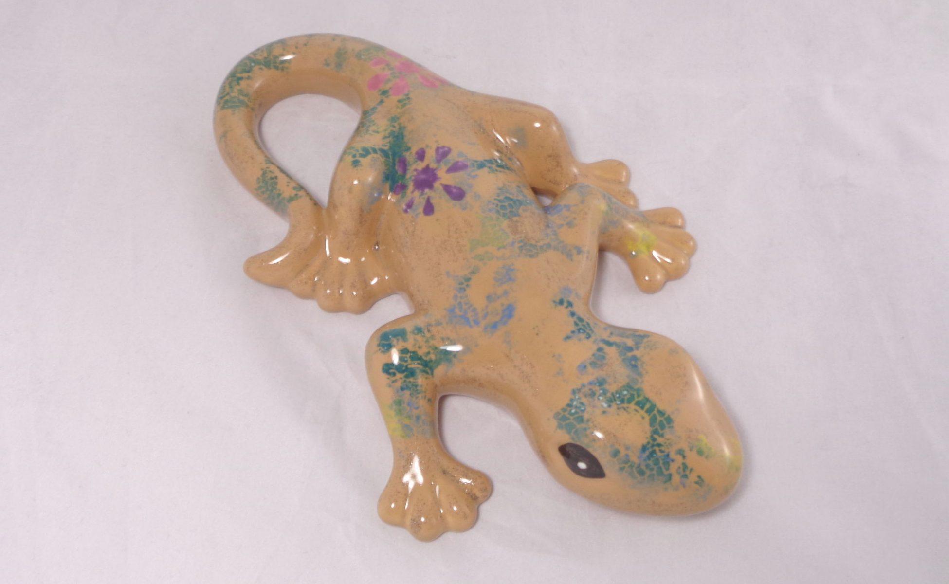Bemalte Keramik Gekko Reptil-Print No.2