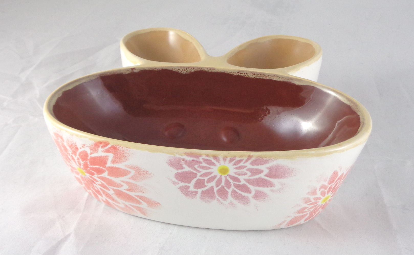 Bemalte Keramik Hasenschale Flower