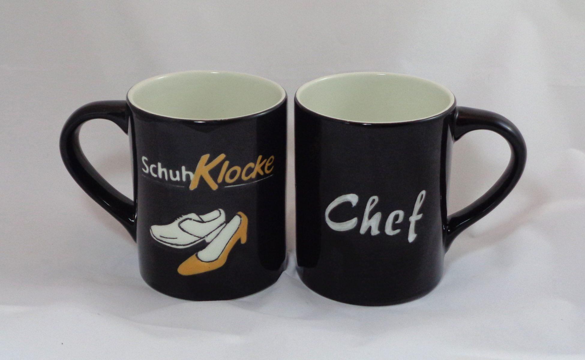 Bemalte Keramik Kaffeebecher Schuh-Klocke