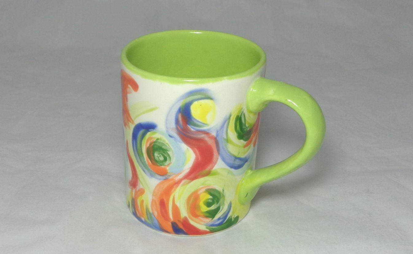 Bemalte Keramik Kaffeebecher Curls