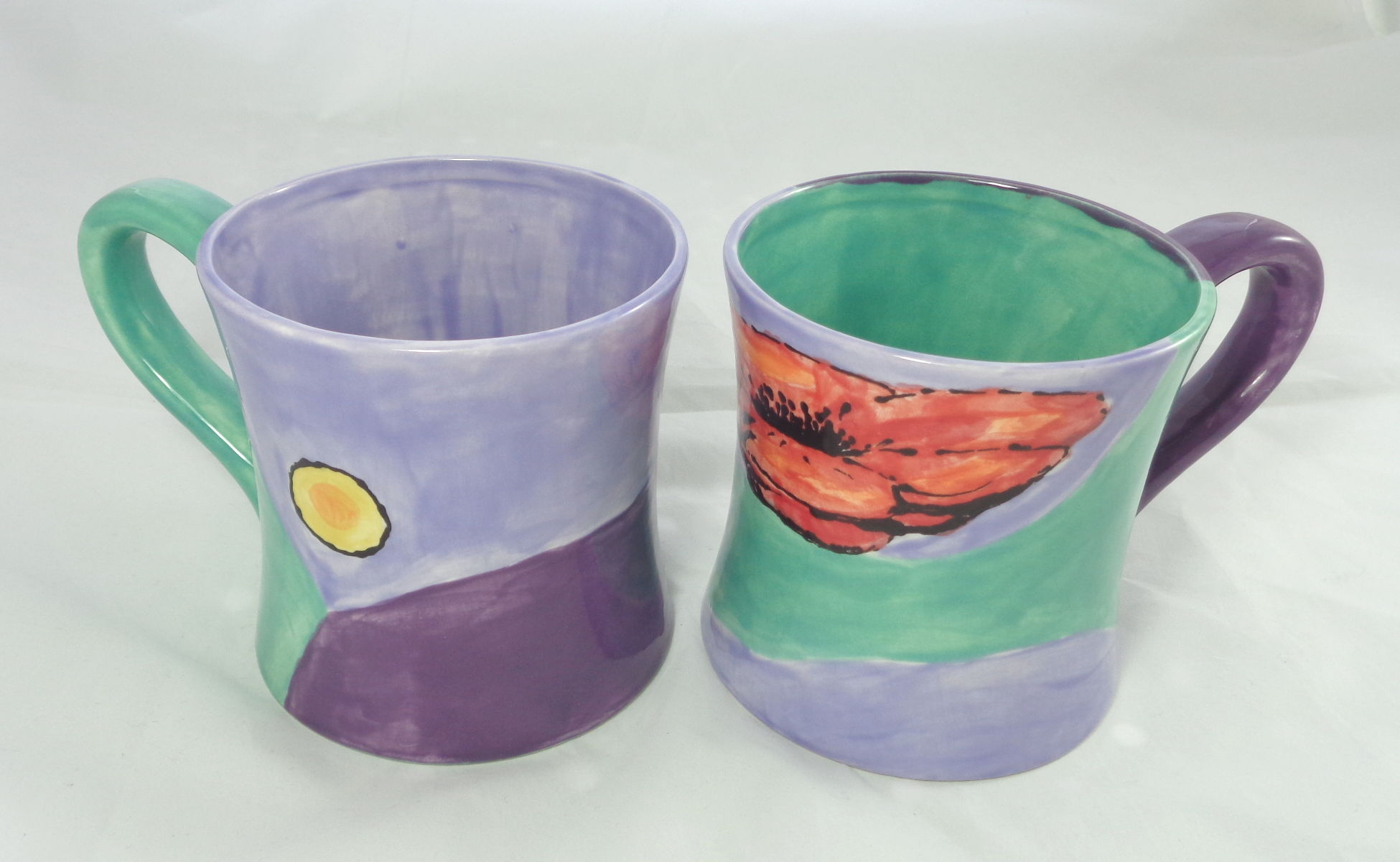 Bemalte Keramik Kaffeebecher Mohn