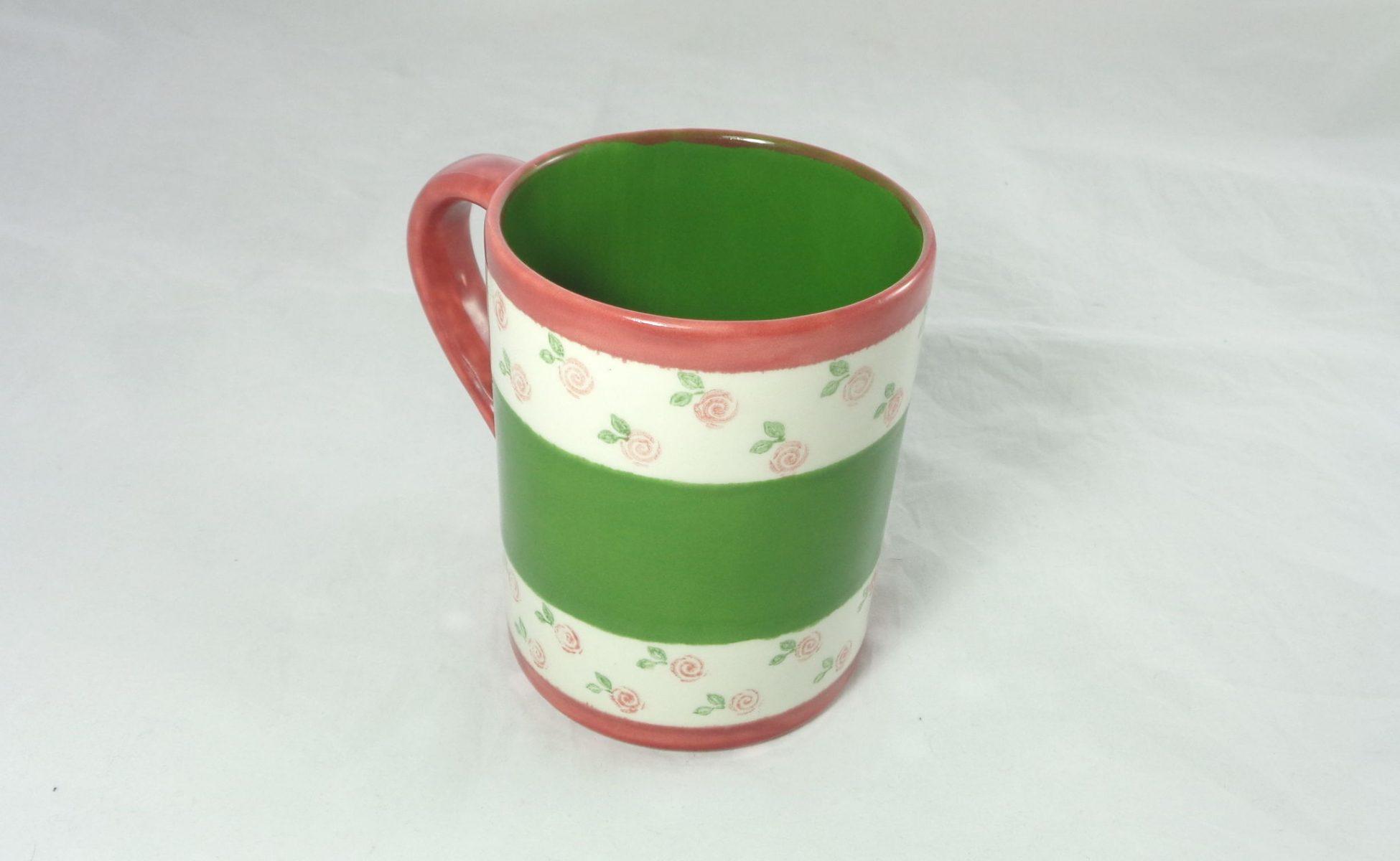 Bemalte Keramik Kaffeebecher Rosen