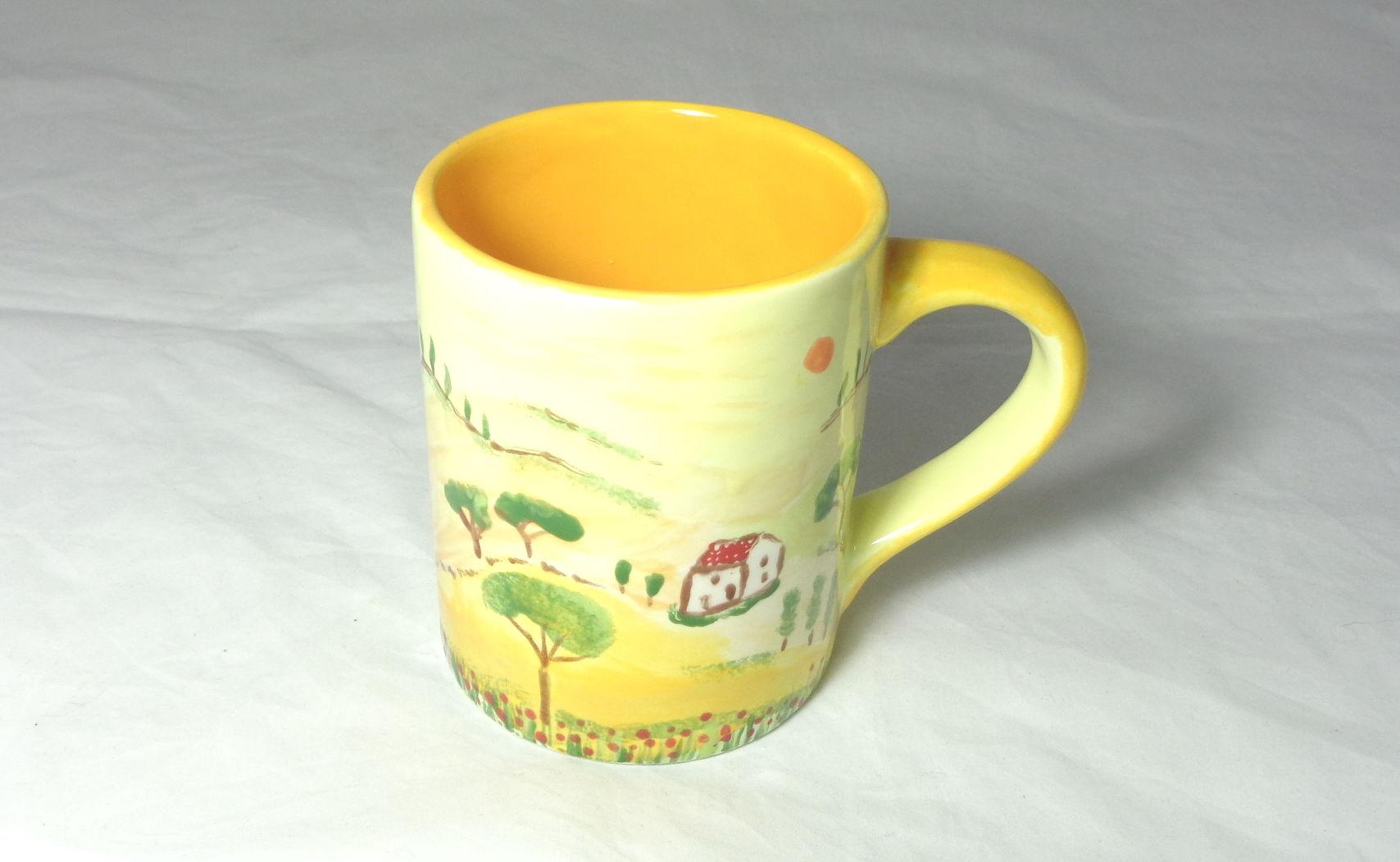 Bemalte Keramik Kaffeebecher Toskana