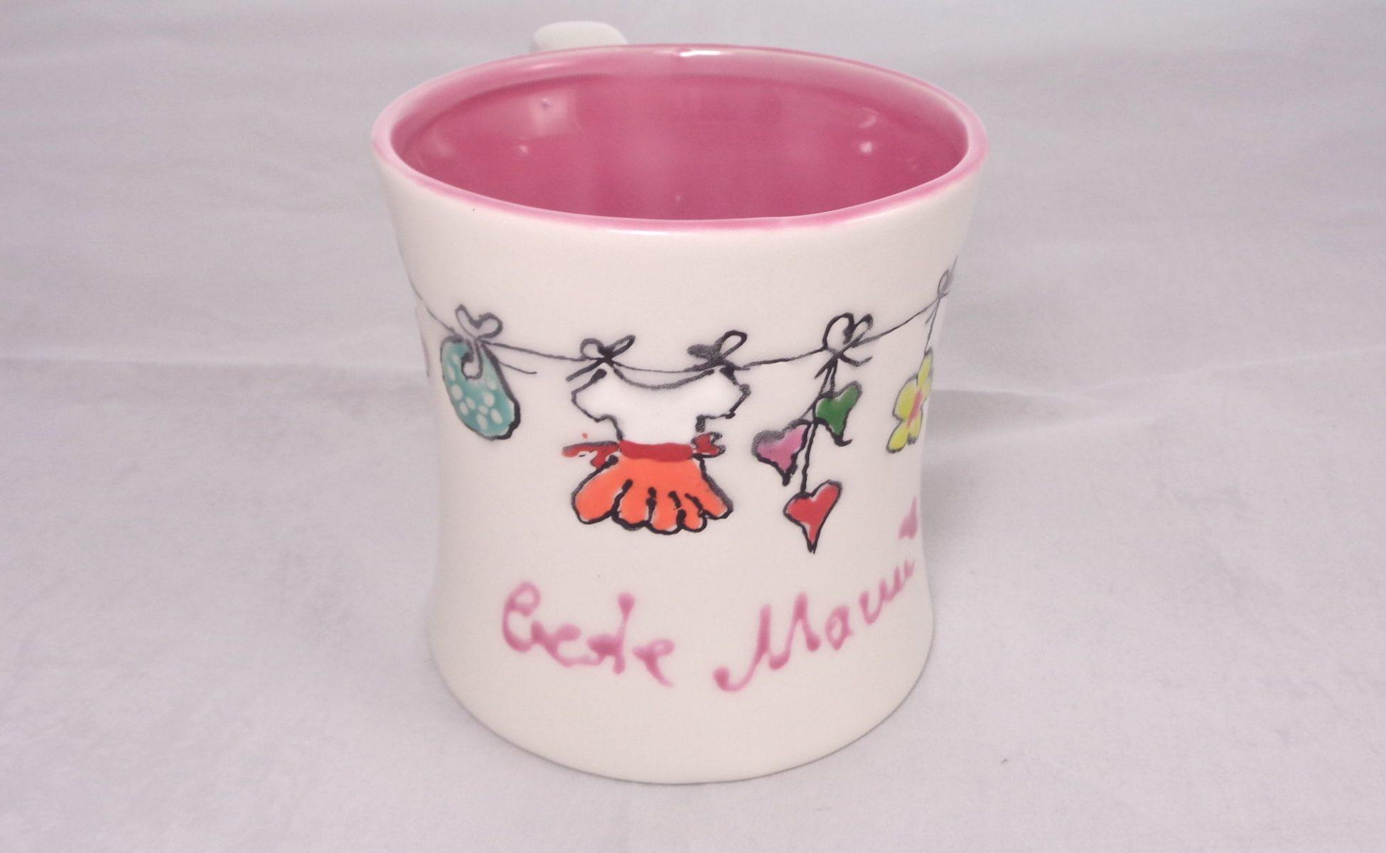 Bemalte Keramik Kaffeebecher beste Mama