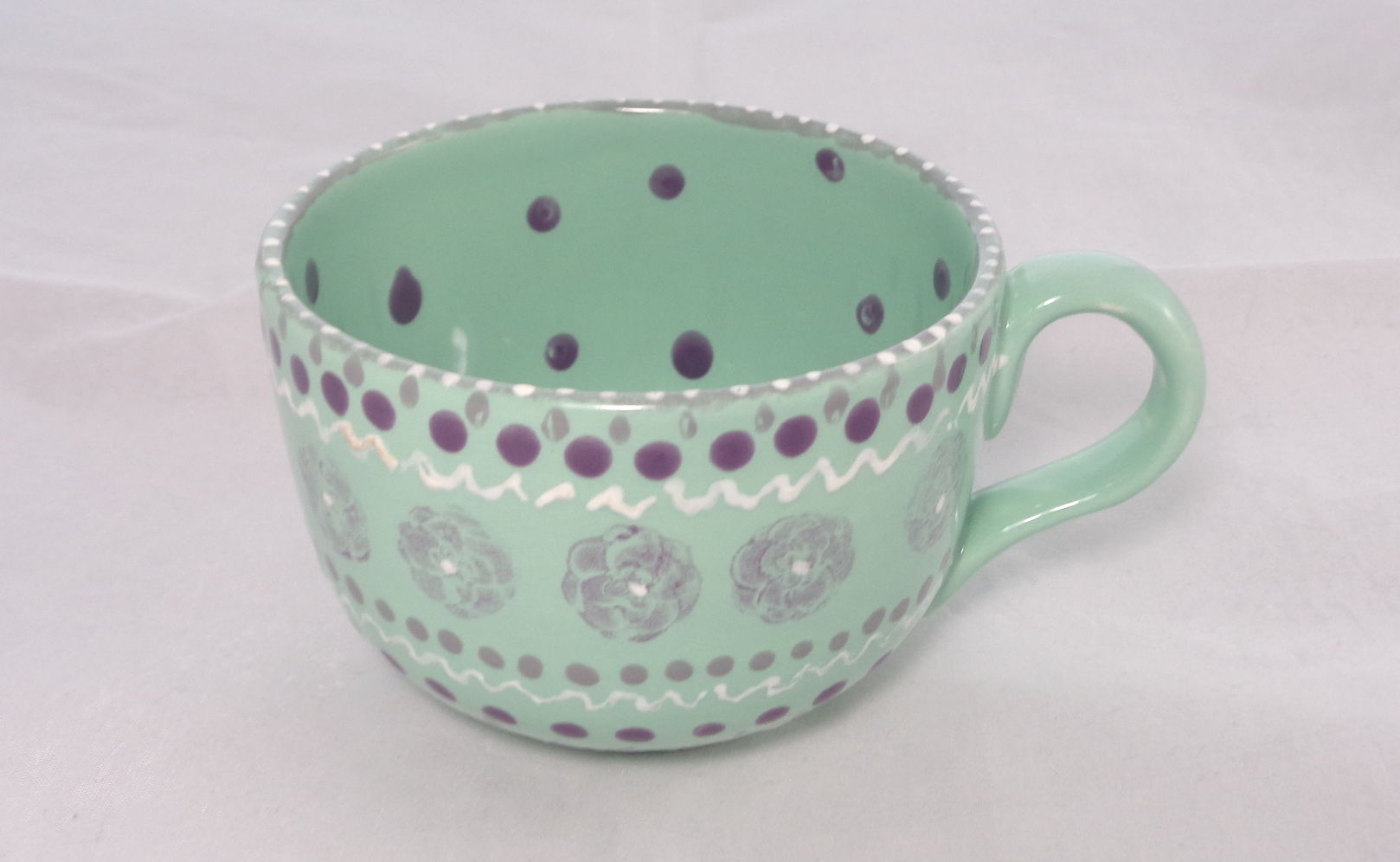 Bemalte Keramik Kaffeetasse Jade