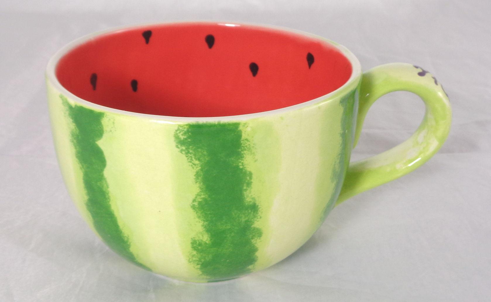 Bemalte Keramik Kaffeetasse Melone