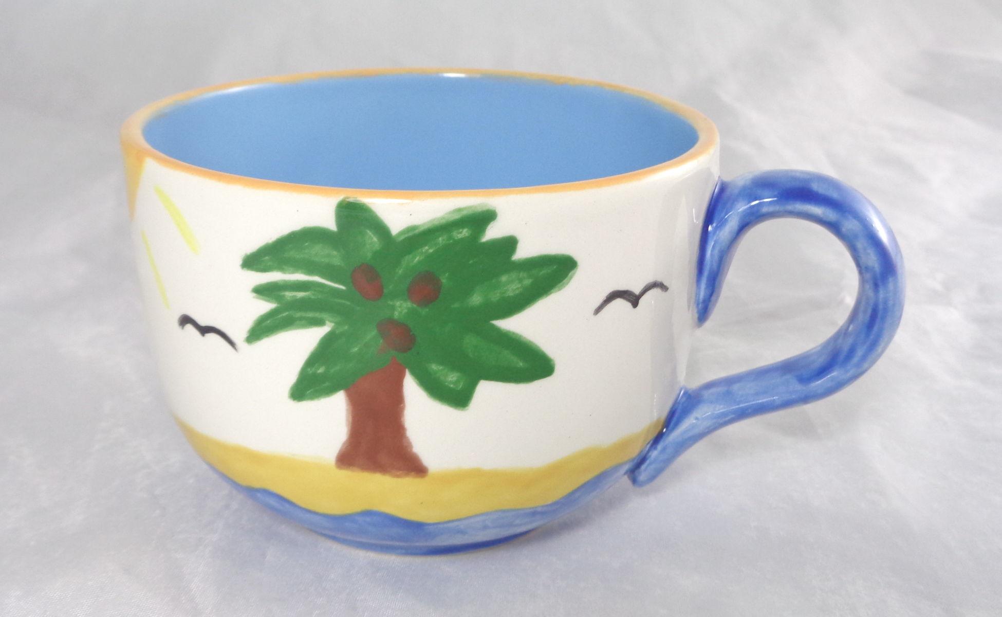 Bemalte Keramik Kaffeetasse Palme