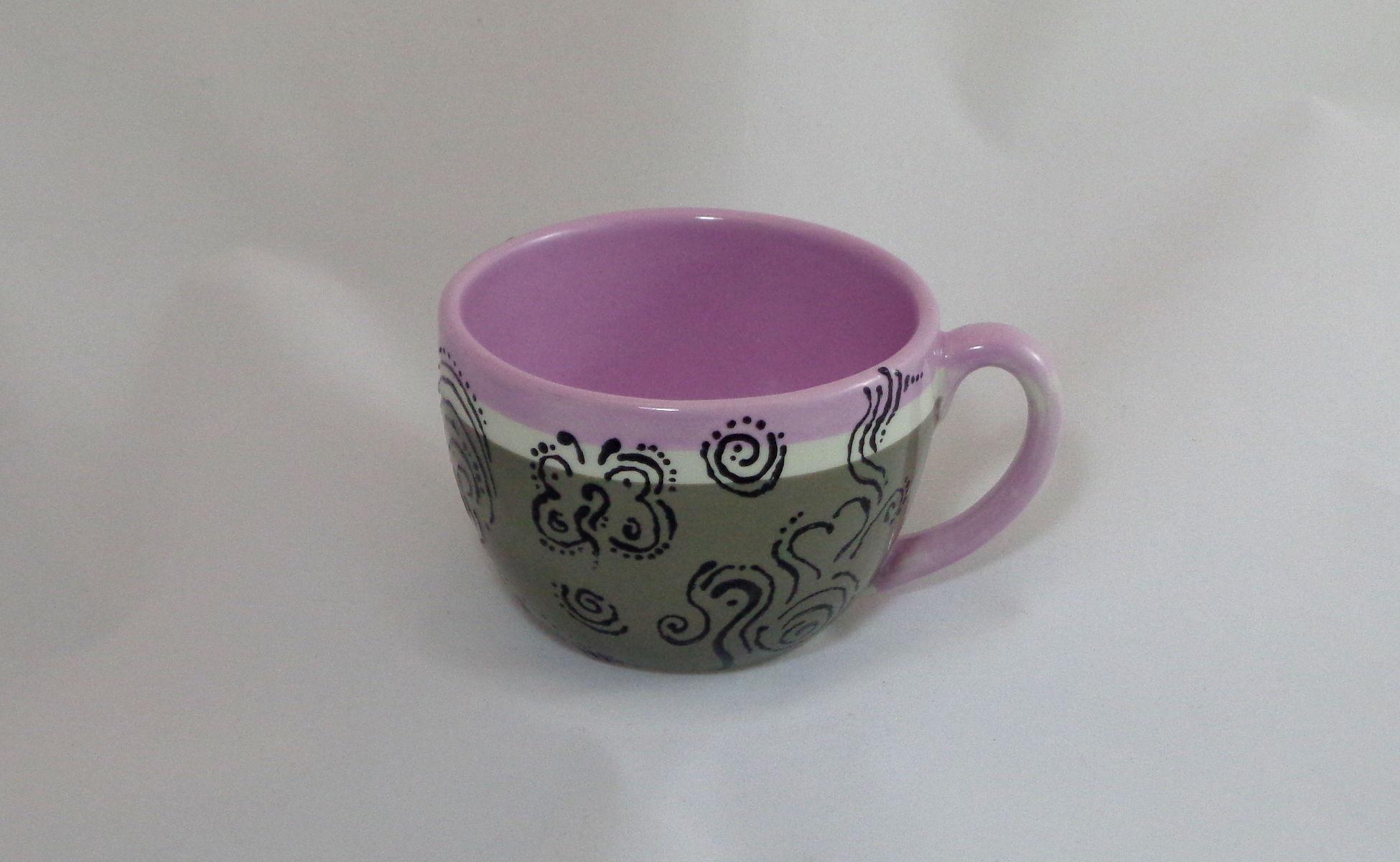 Bemalte Keramik Kaffeetasse