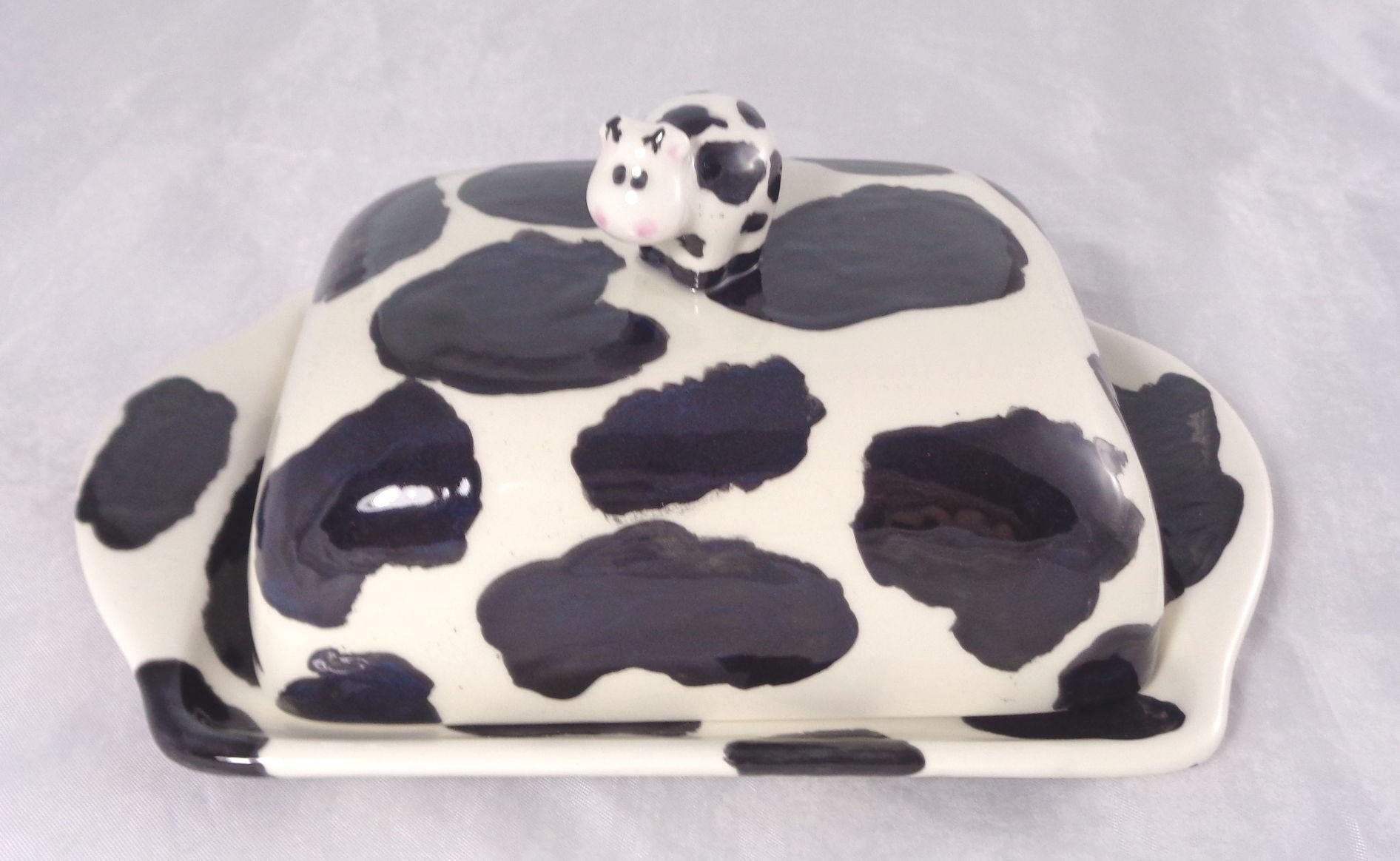 Bemalte Keramik Kuhflecken Butterdise No 3