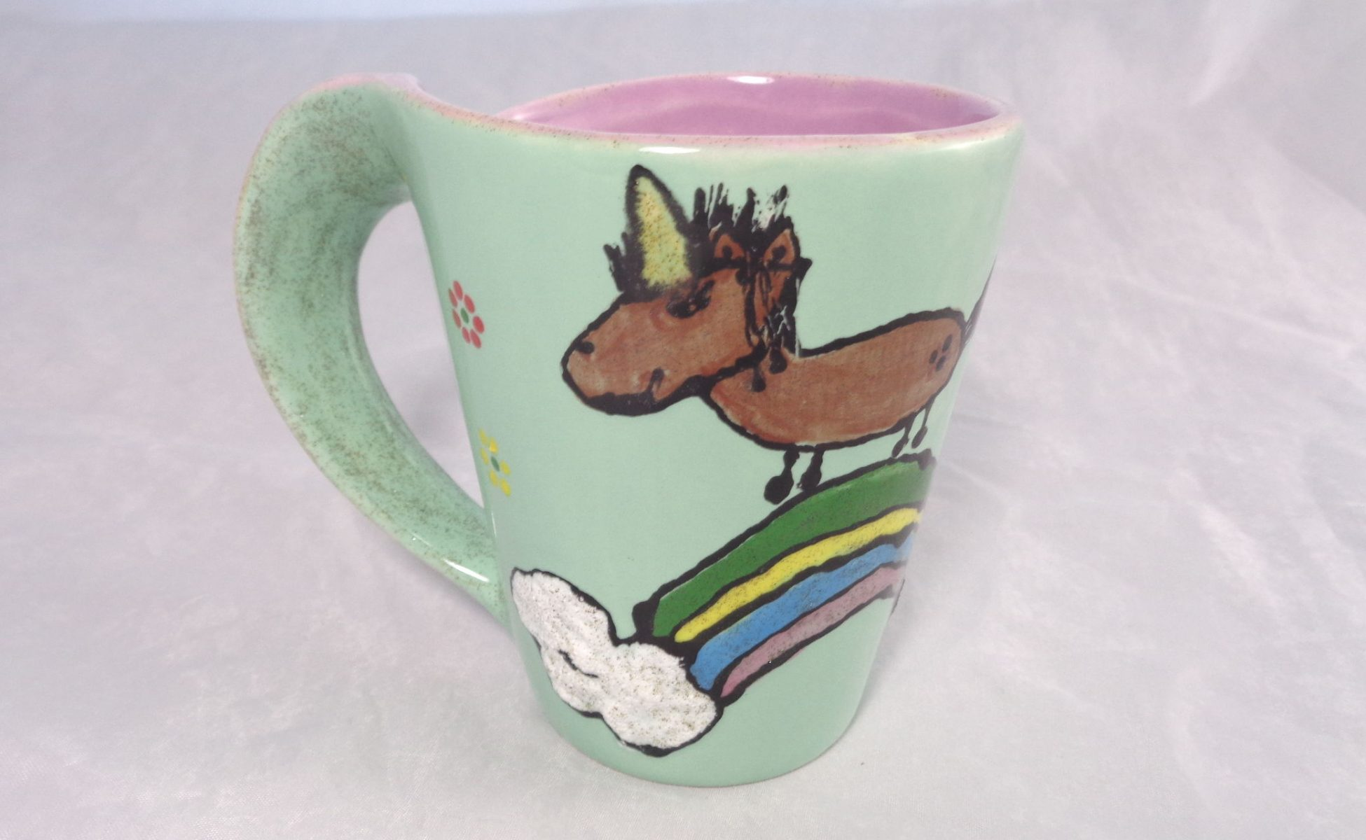 Bemalte Keramik Loopingbecher Unicorn-Power