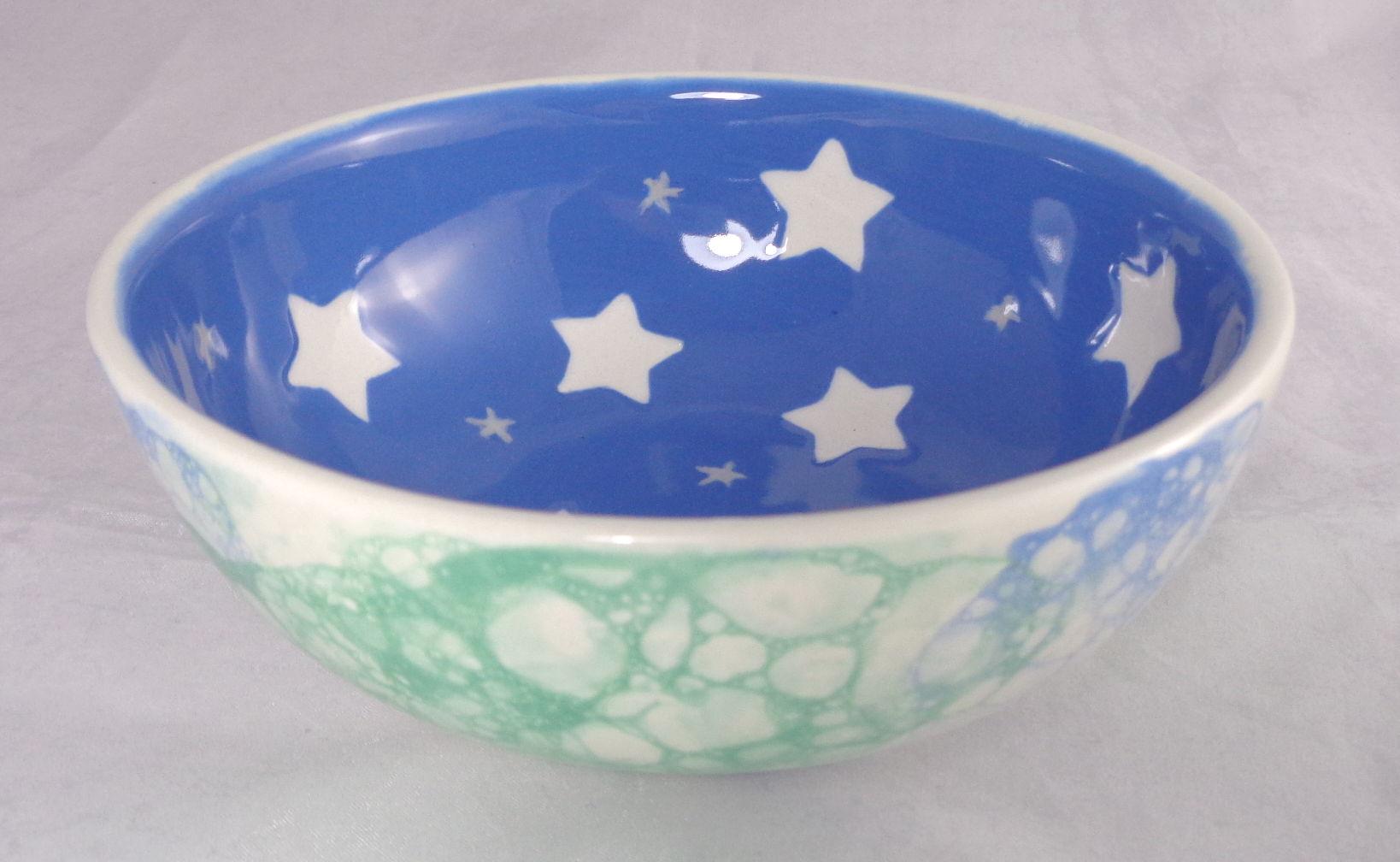 Bemalte Keramik Müslischale Stars und Blubber