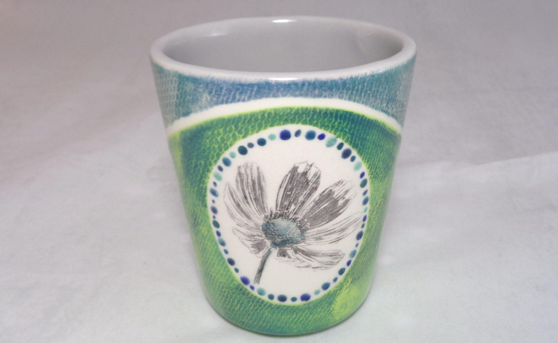 Bemalte Keramik Milchbecher Margerite