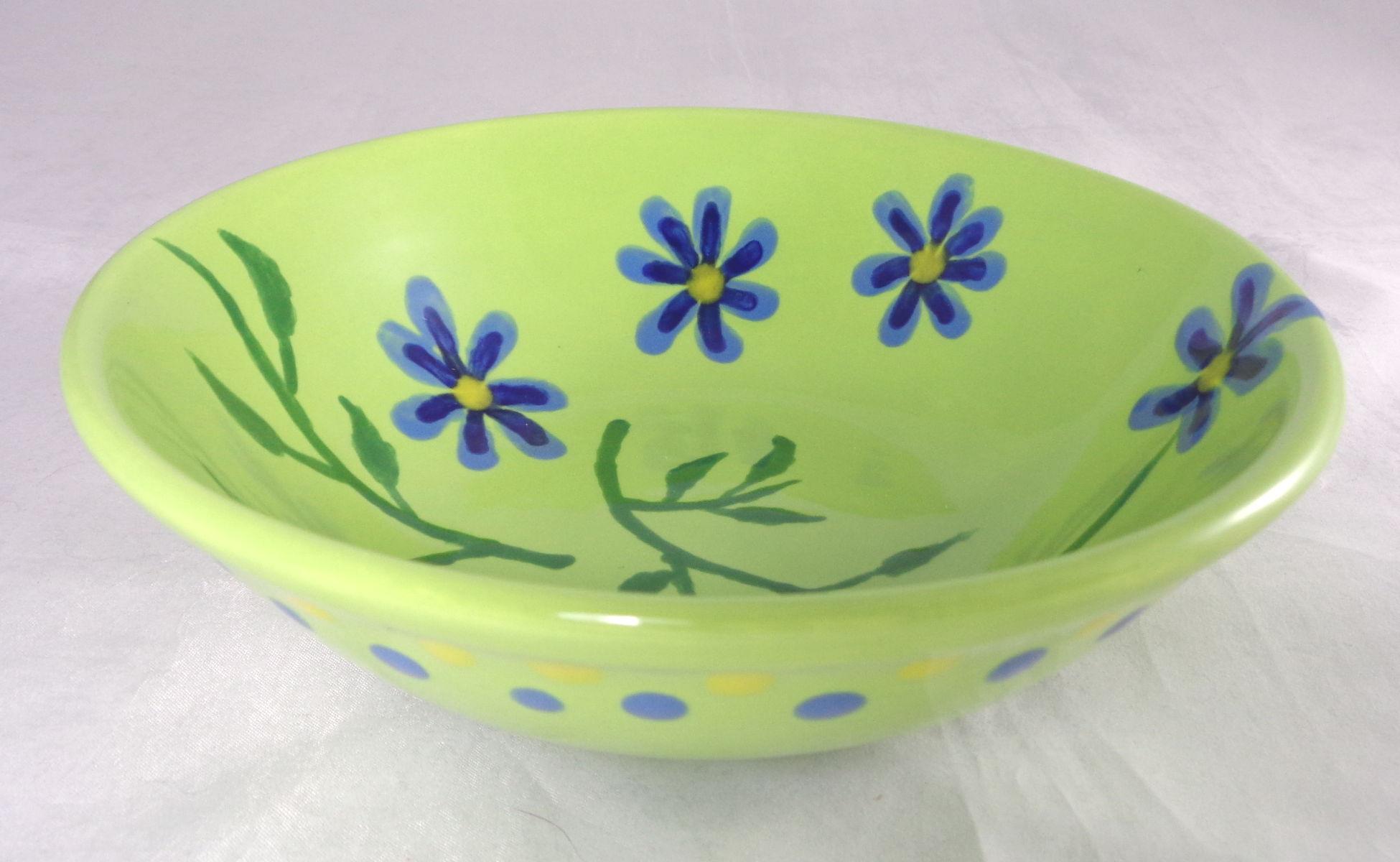 Bemalte Keramik Oslo Schale grün floral