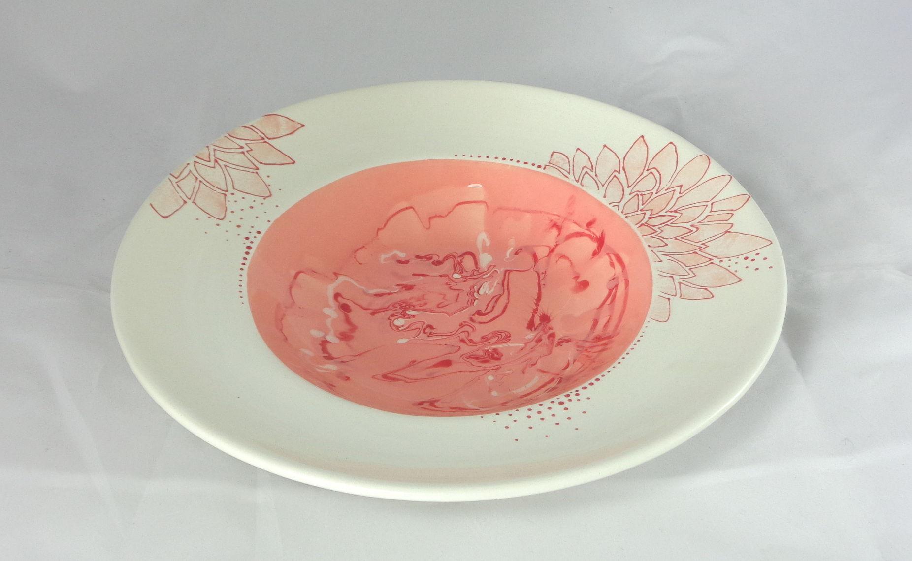 Bemalte Keramik Pastateller mamoriert