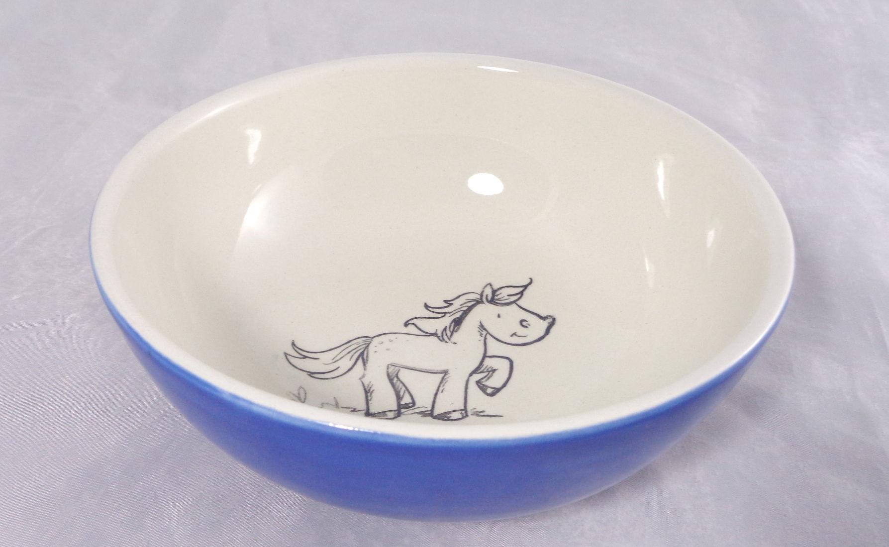 Bemalte Keramik Pferde-Müslischale Blau