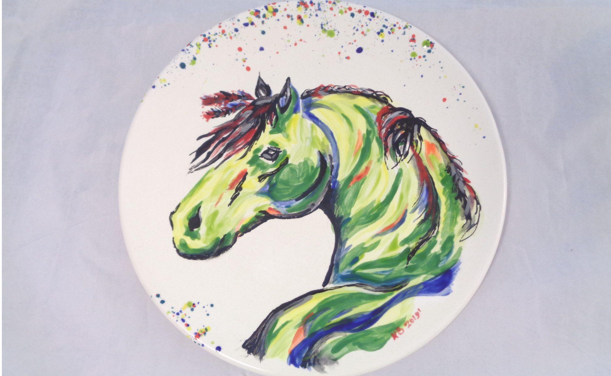Bemalte Keramik Pferde-Set Teller groß