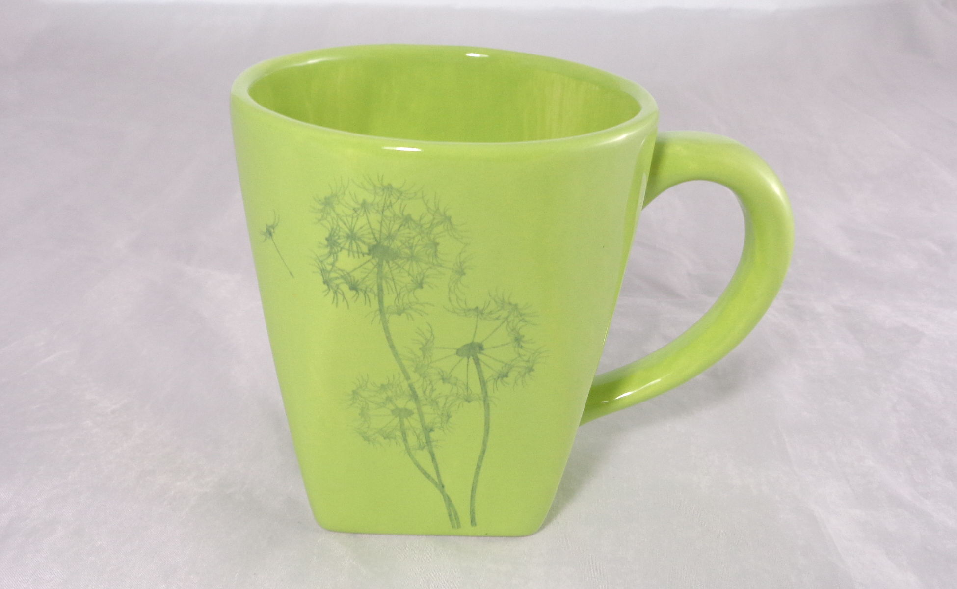 Bemalte Keramik Pusteblumen Rundquadrat green