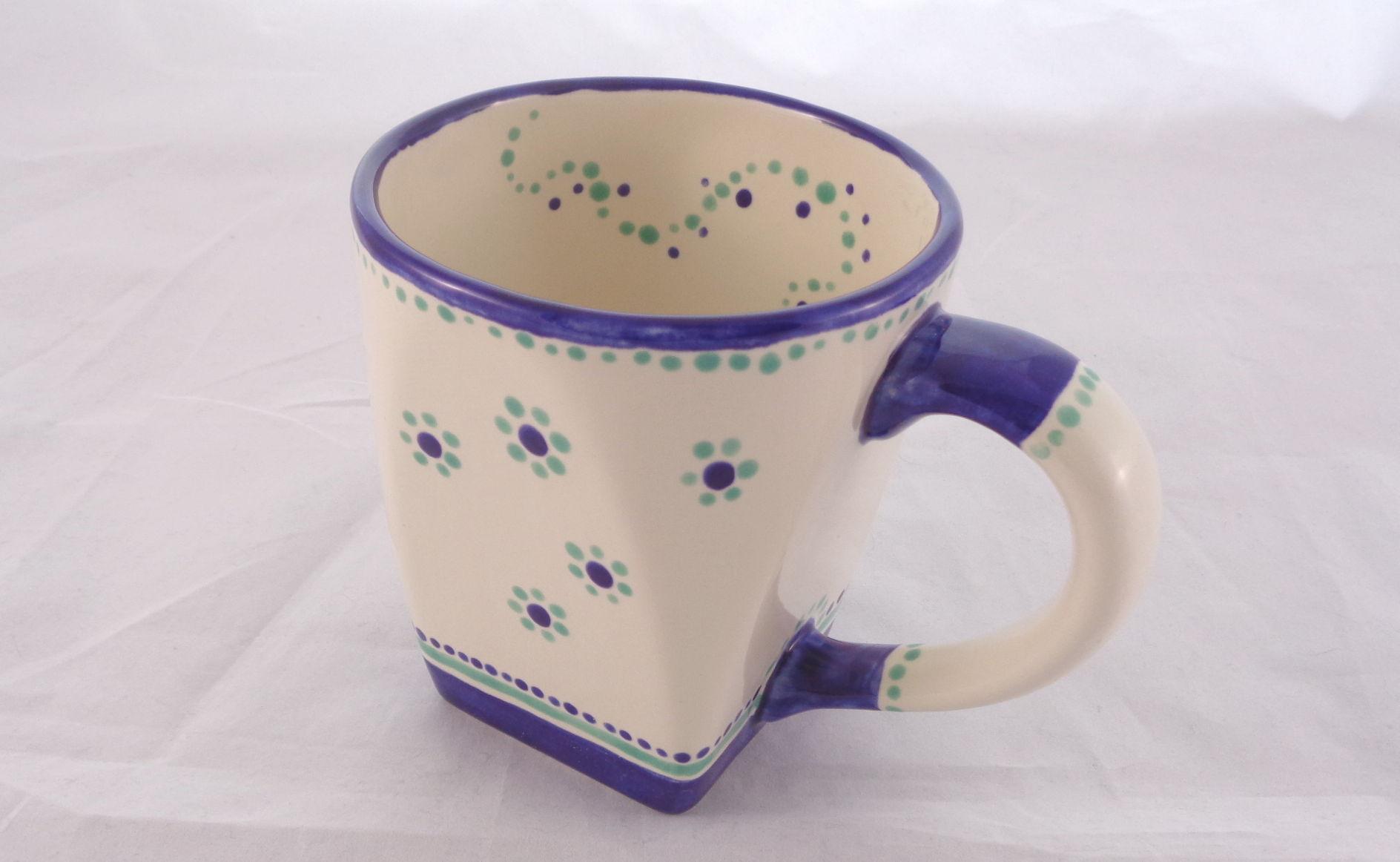 Bemalte Keramik Rundquadratbecher Olaf
