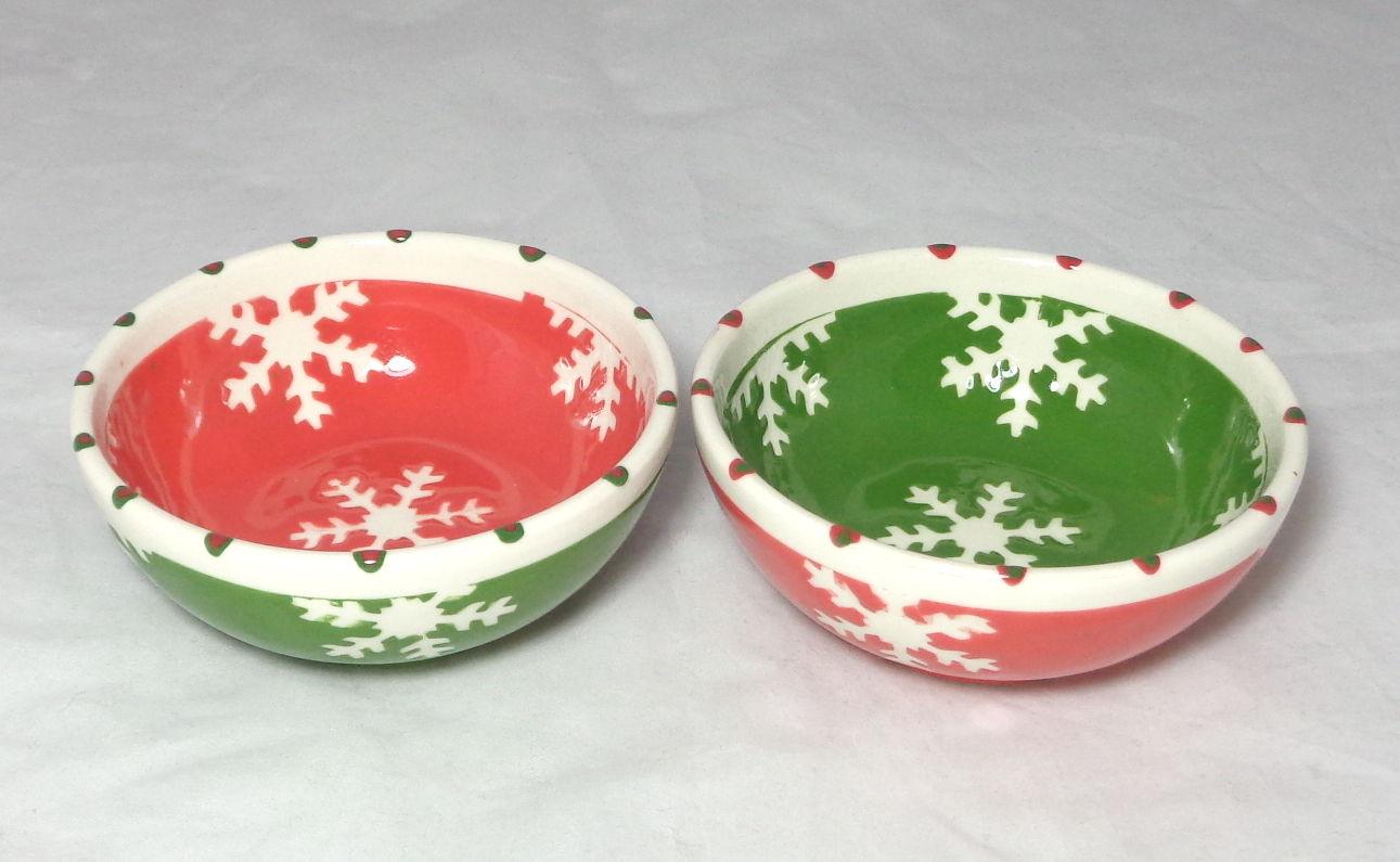 Bemalte Keramik Schälchen-Set Flocken