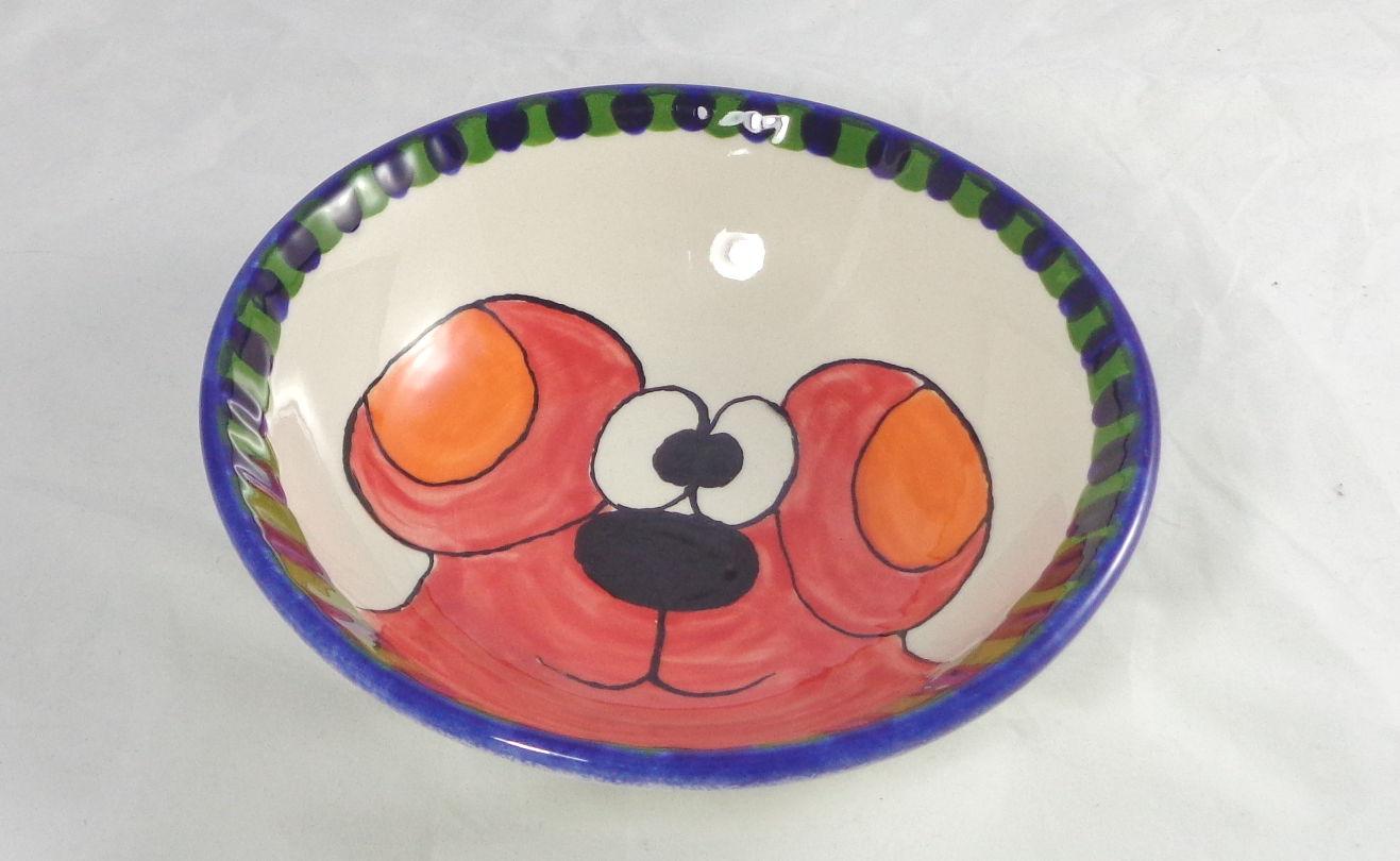 Bemalte Keramik Schale Hund