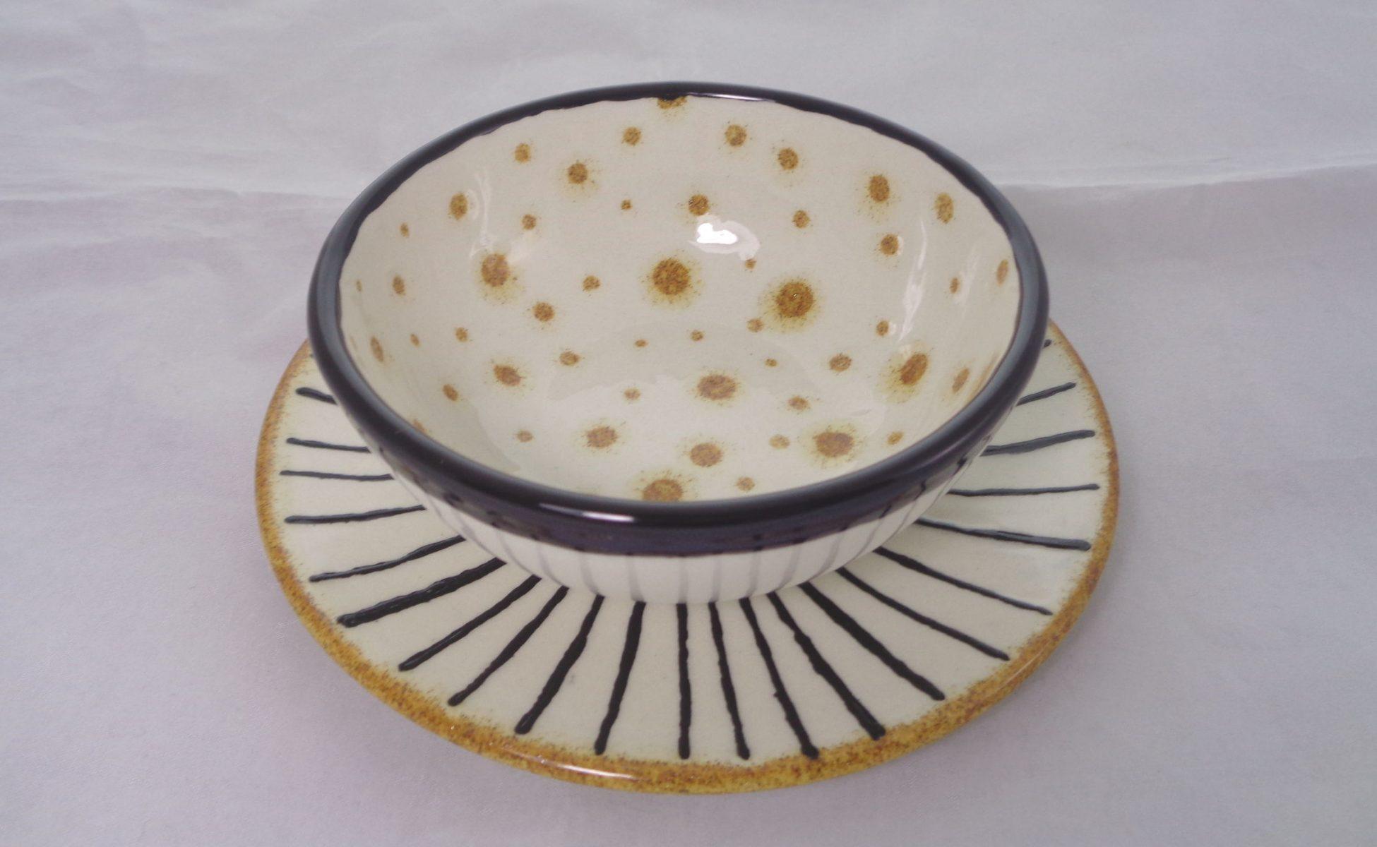 Bemalte Keramik Schwarz-goldenes Schälchen-Set