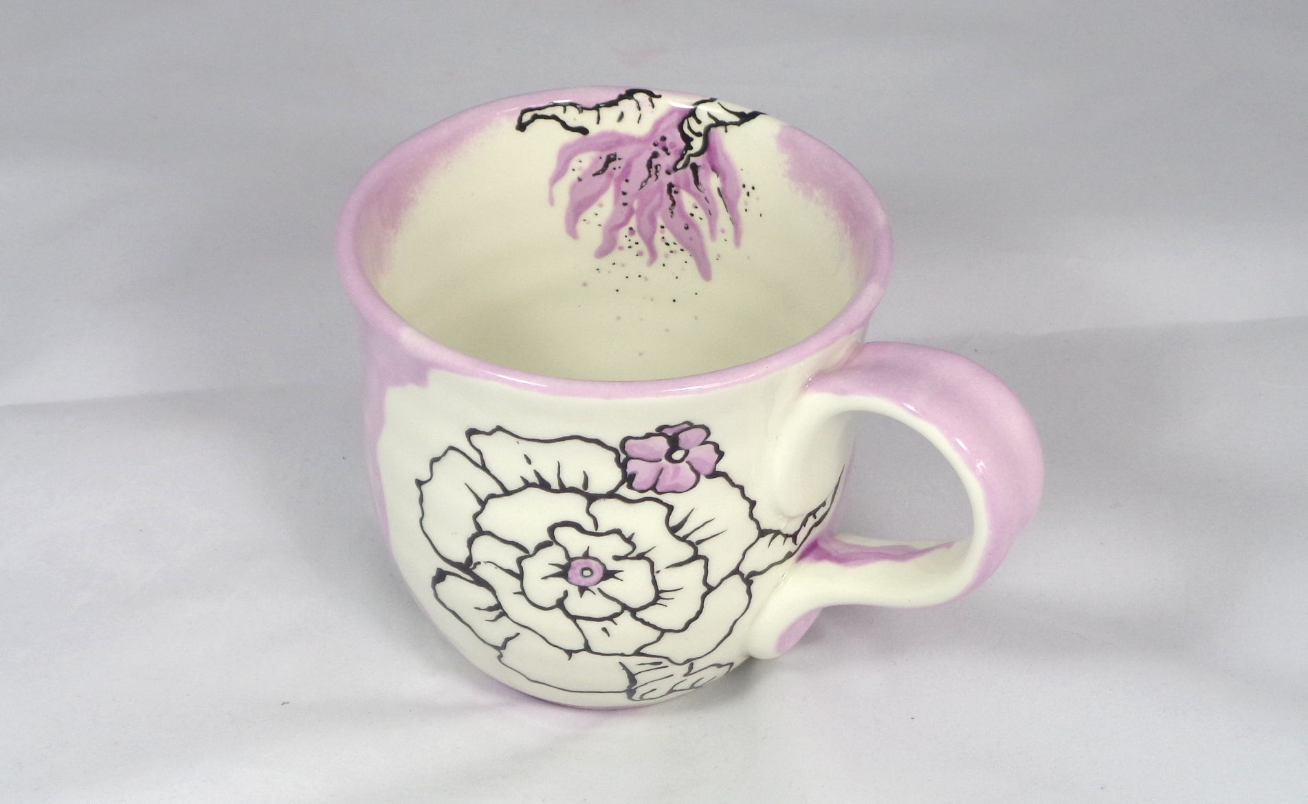 Bemalte Keramik Töpferbecher Floral