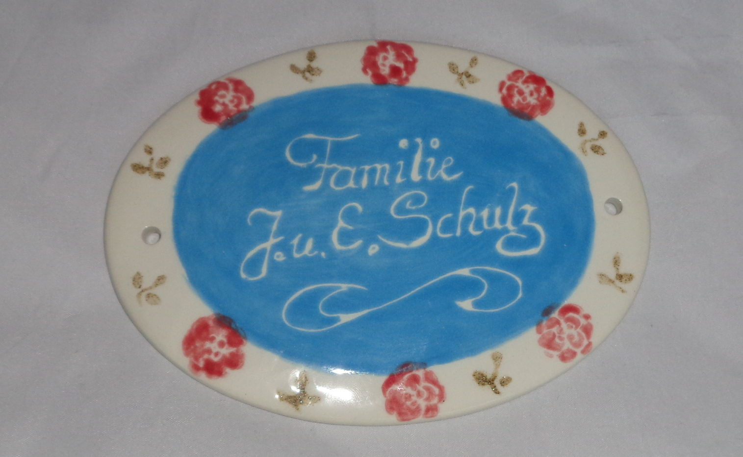 Bemalte Keramik Türschild Schulz