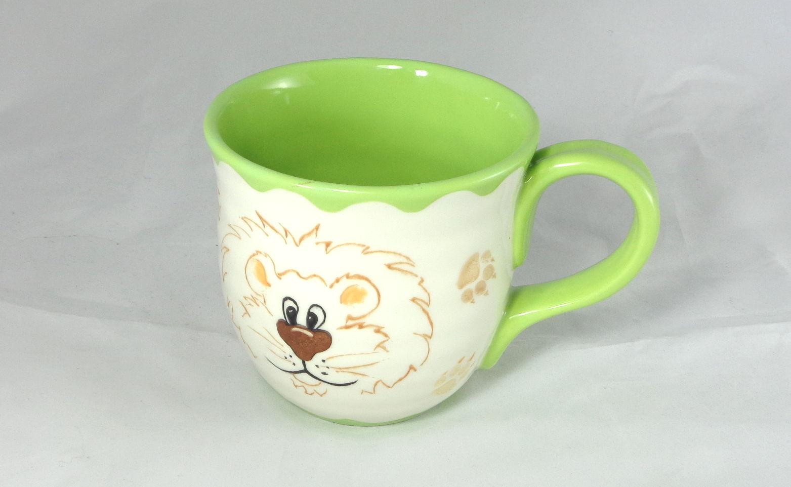 Bemalte Keramik Töpferbecher Löwe