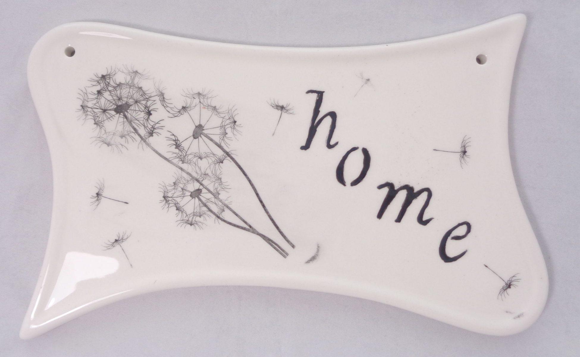 Bemalte Keramik Türschild Home