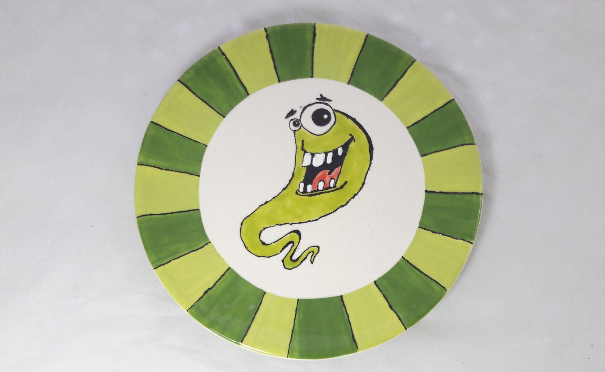 Bemalte Keramik Teller 20cm Monster
